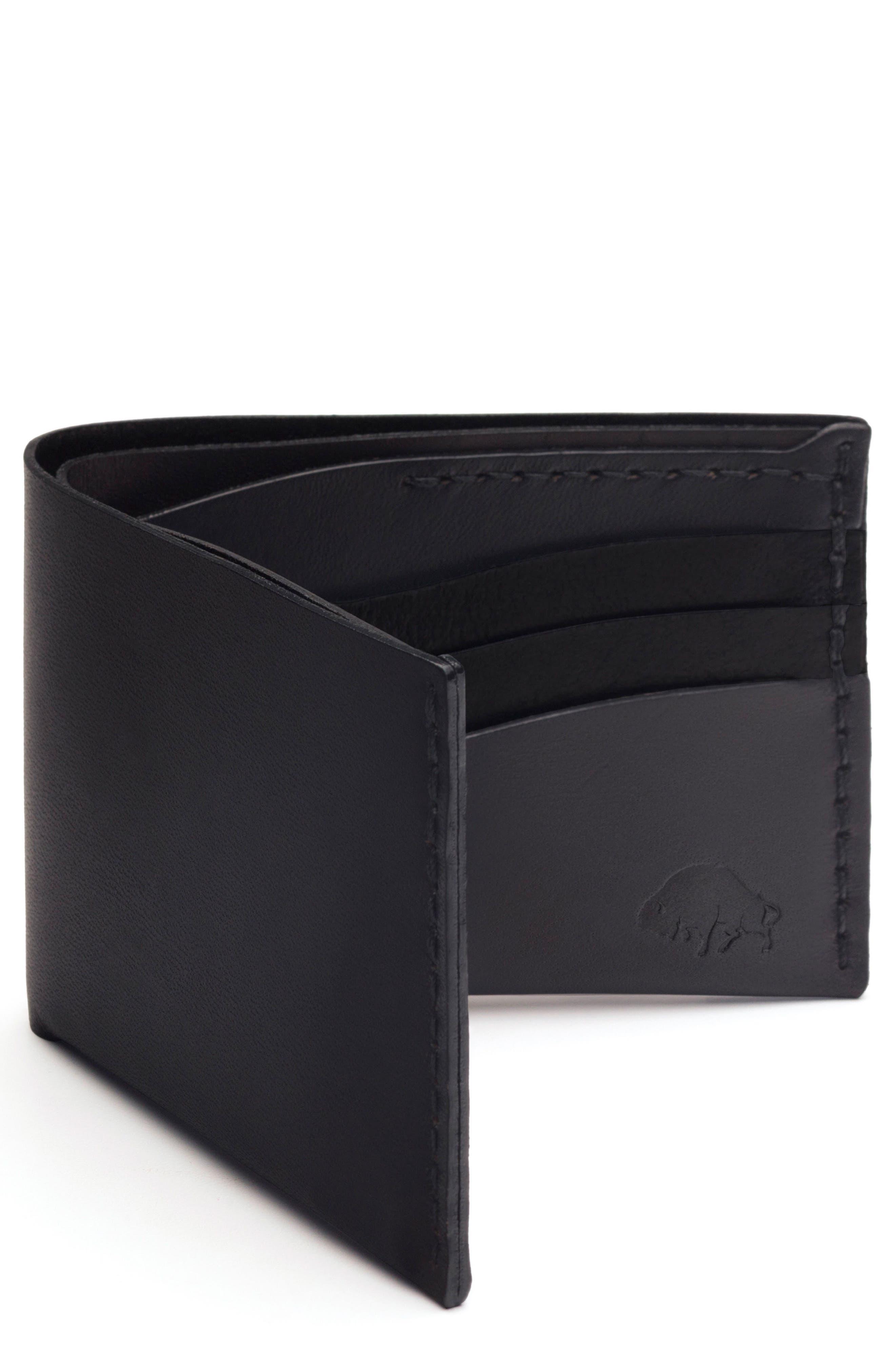 No. 8 Leather Wallet,                         Main,                         color, Jet