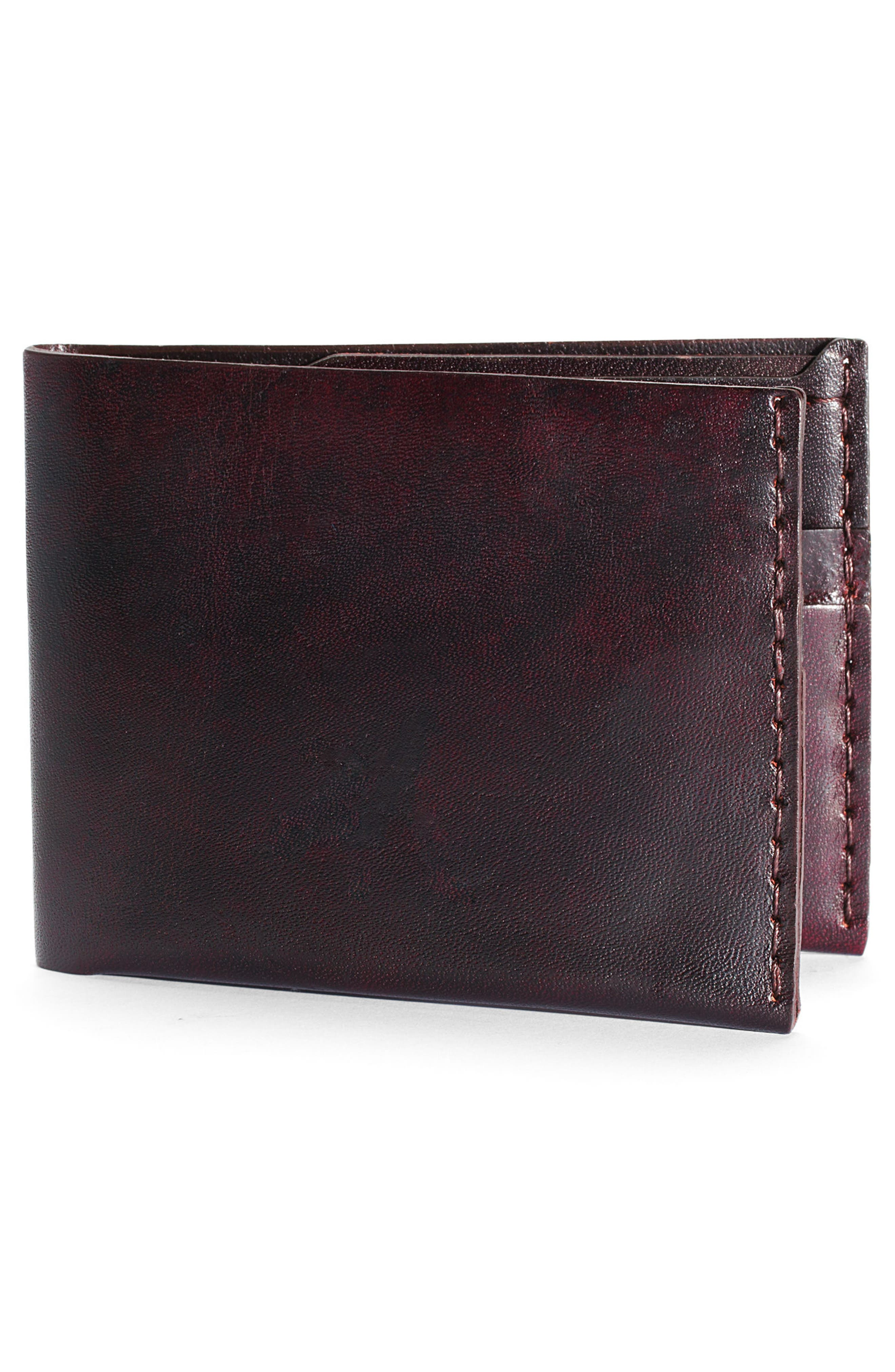 No. 6 Leather Wallet,                             Alternate thumbnail 2, color,                             Malbec