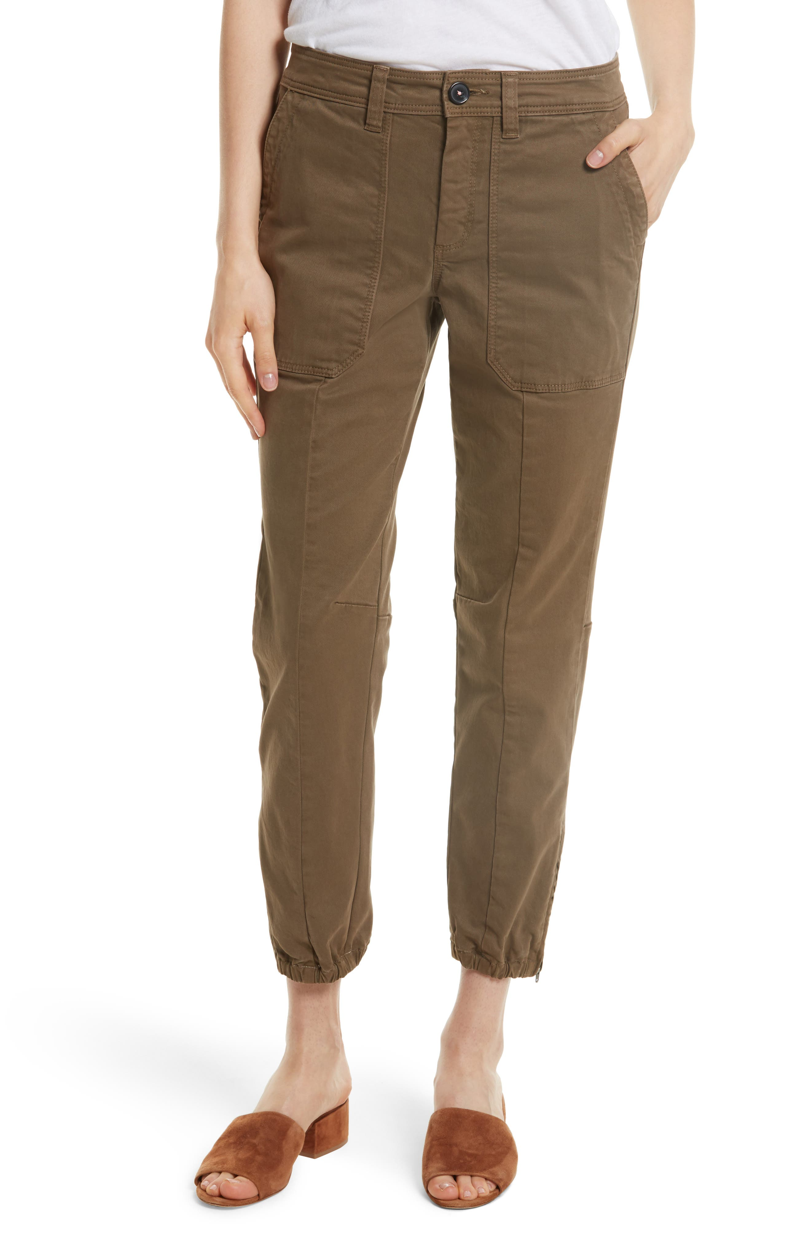 Crop Twill Utility Pants,                         Main,                         color, Trooper