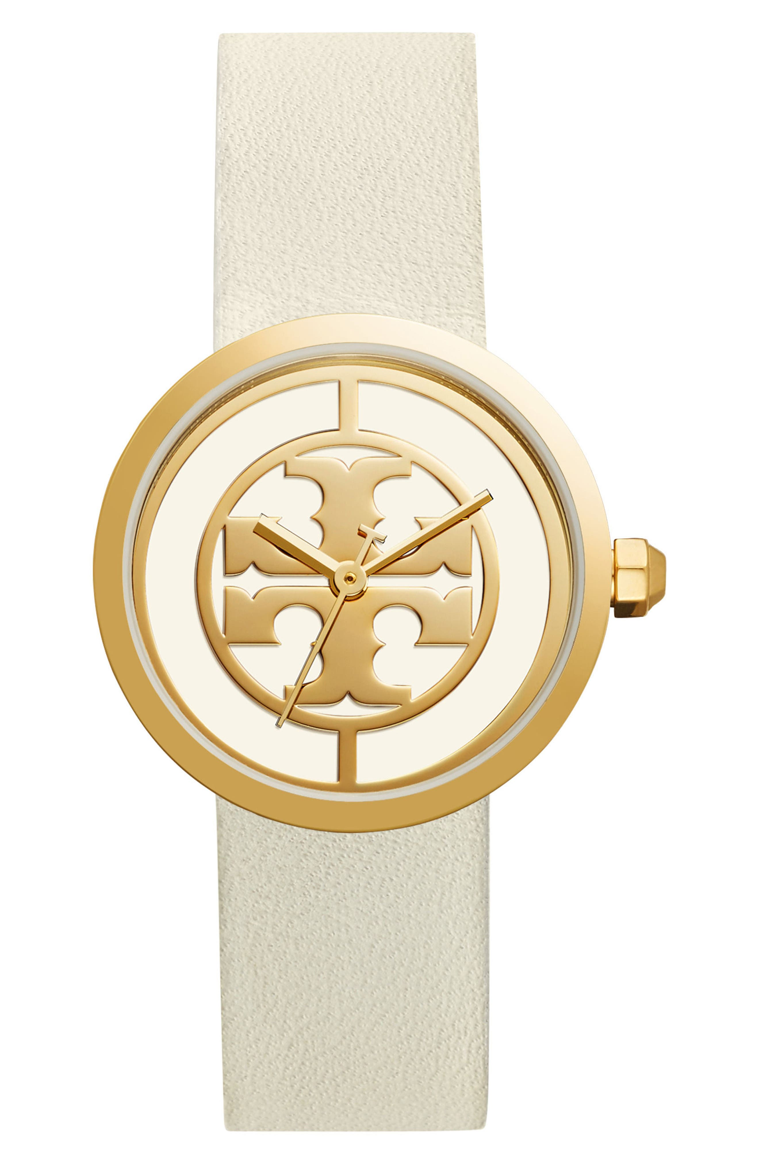 Reva Logo Dial Leather Strap Watch, 36mm,                         Main,                         color, Ivory/ Gold