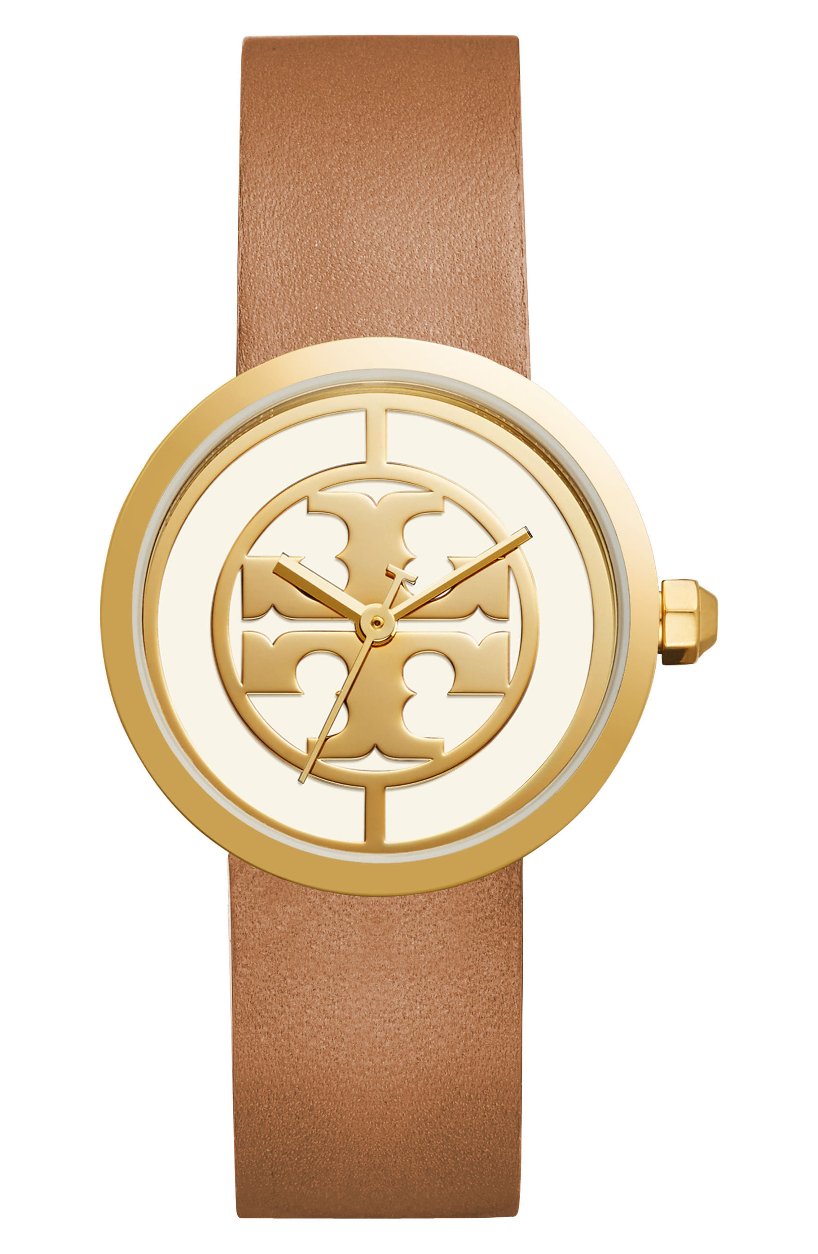 Tory Burch Reva Logo Dial Leather Strap Watch, 36mm