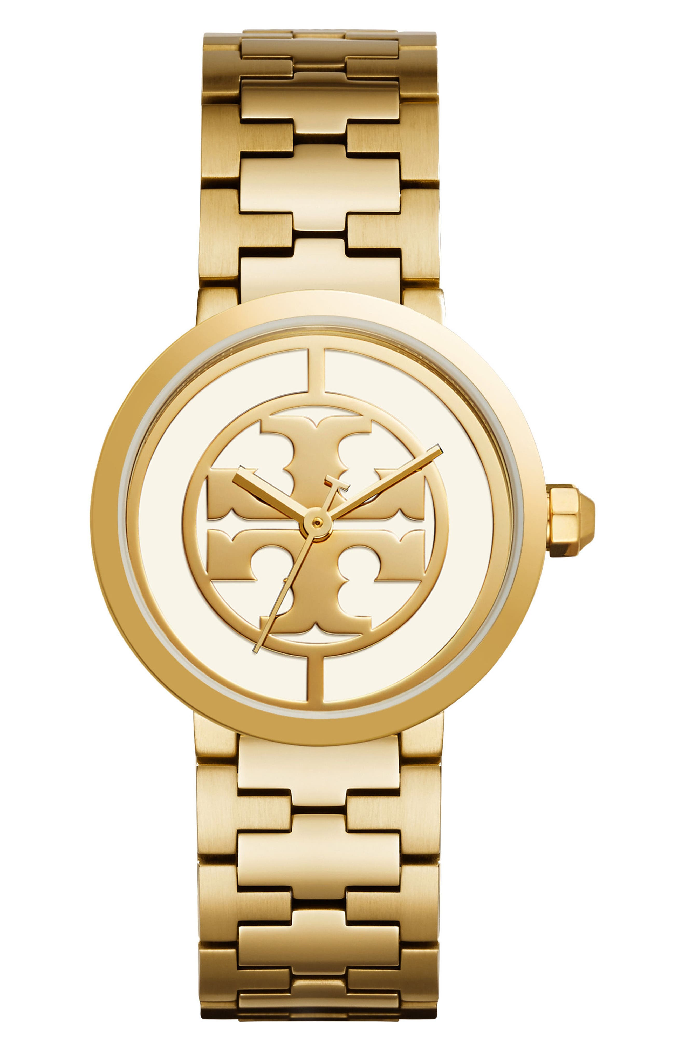 Reva Logo Dial Bracelet Watch, 36mm,                             Main thumbnail 1, color,                             Gold/ Ivory/ Gold