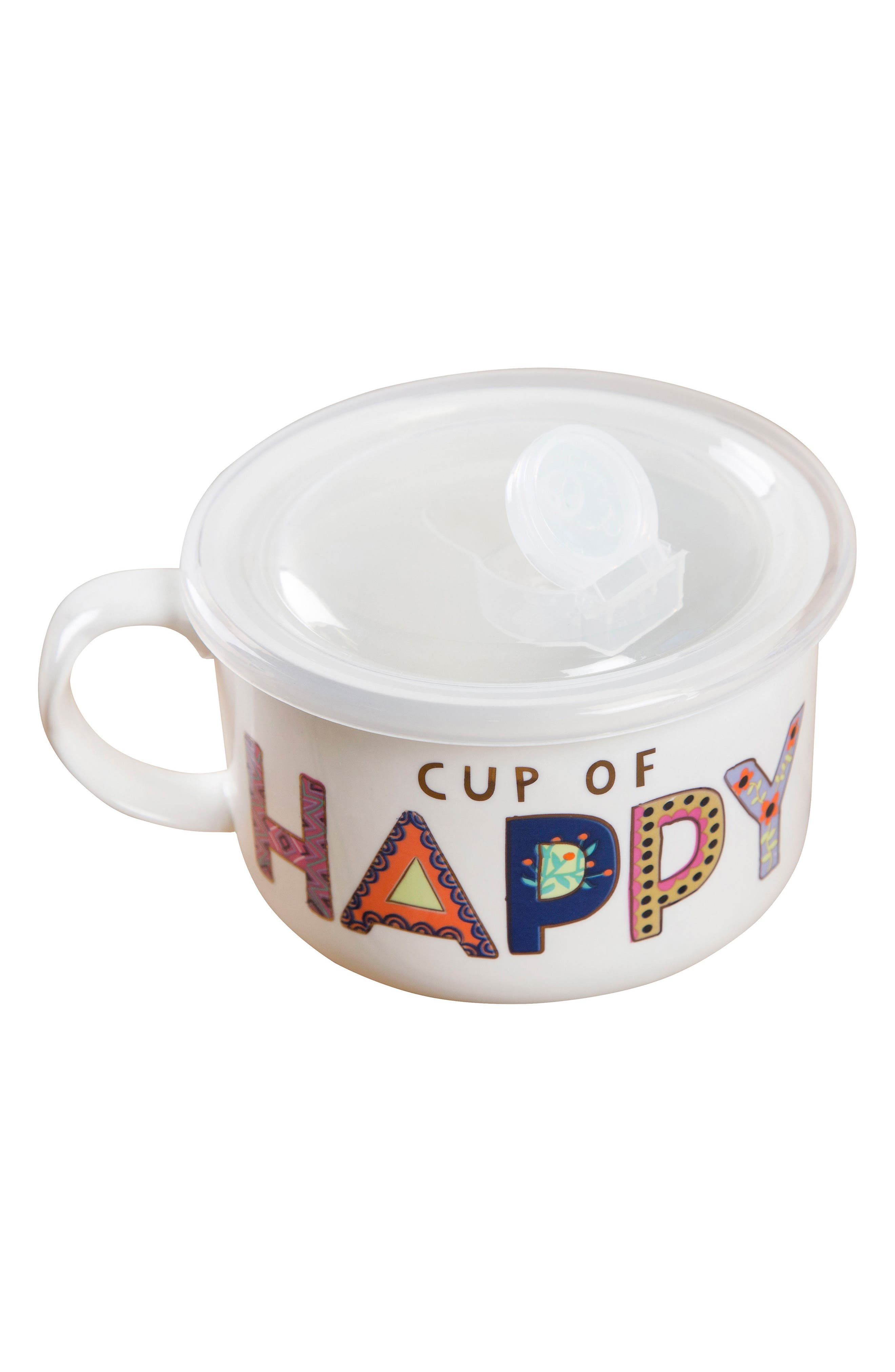 Natural Life Cup of Happy Lidded Ceramic Soup Mug