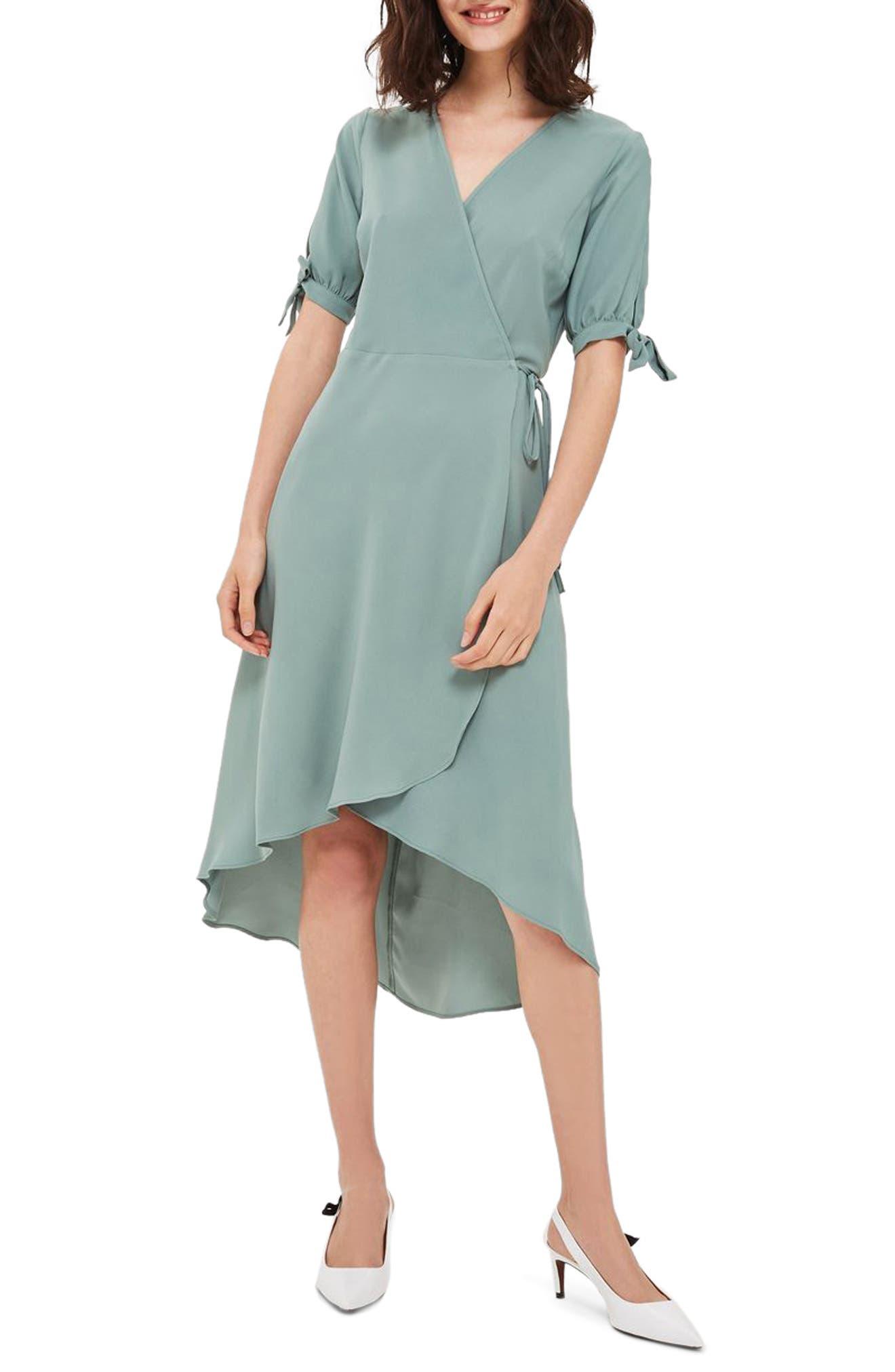 Topshop Dusty Emma Tie Sleeve Wrap Dress