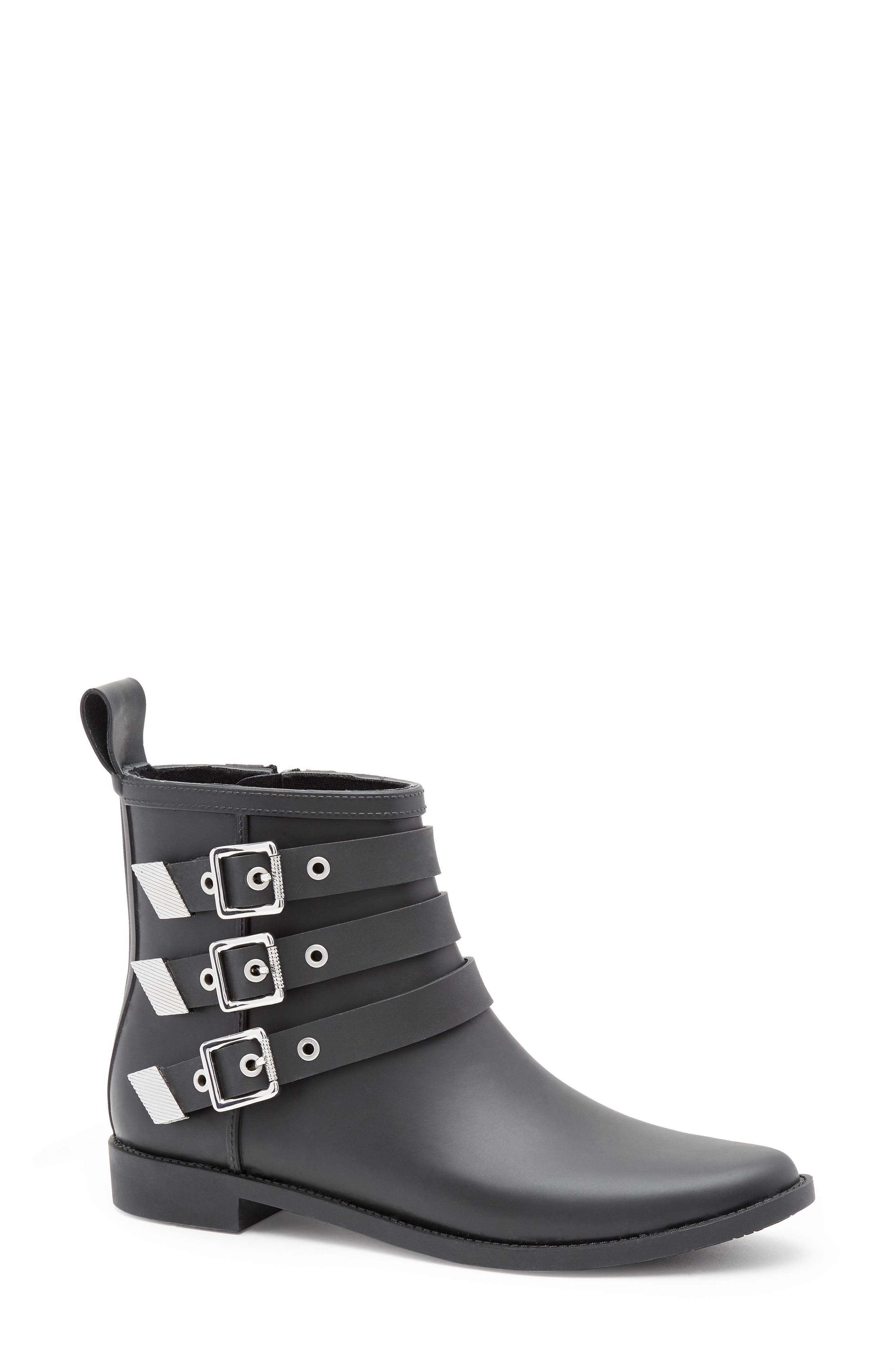 Nash Buckle Strap Rain Bootie,                         Main,                         color, Black/ Silver