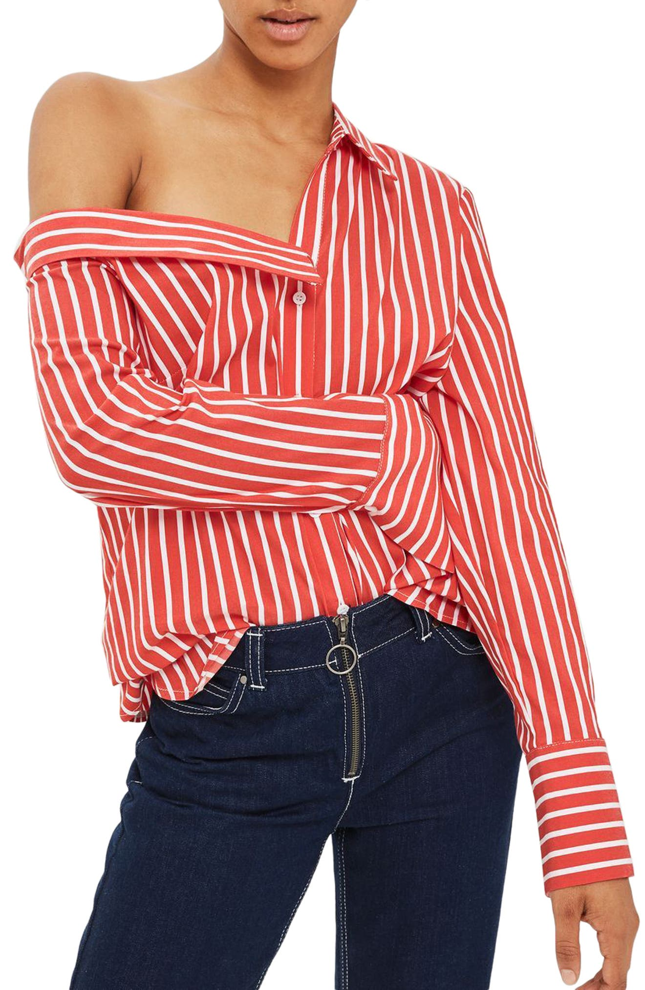 Stripe Off the Shoulder Top,                         Main,                         color, Red
