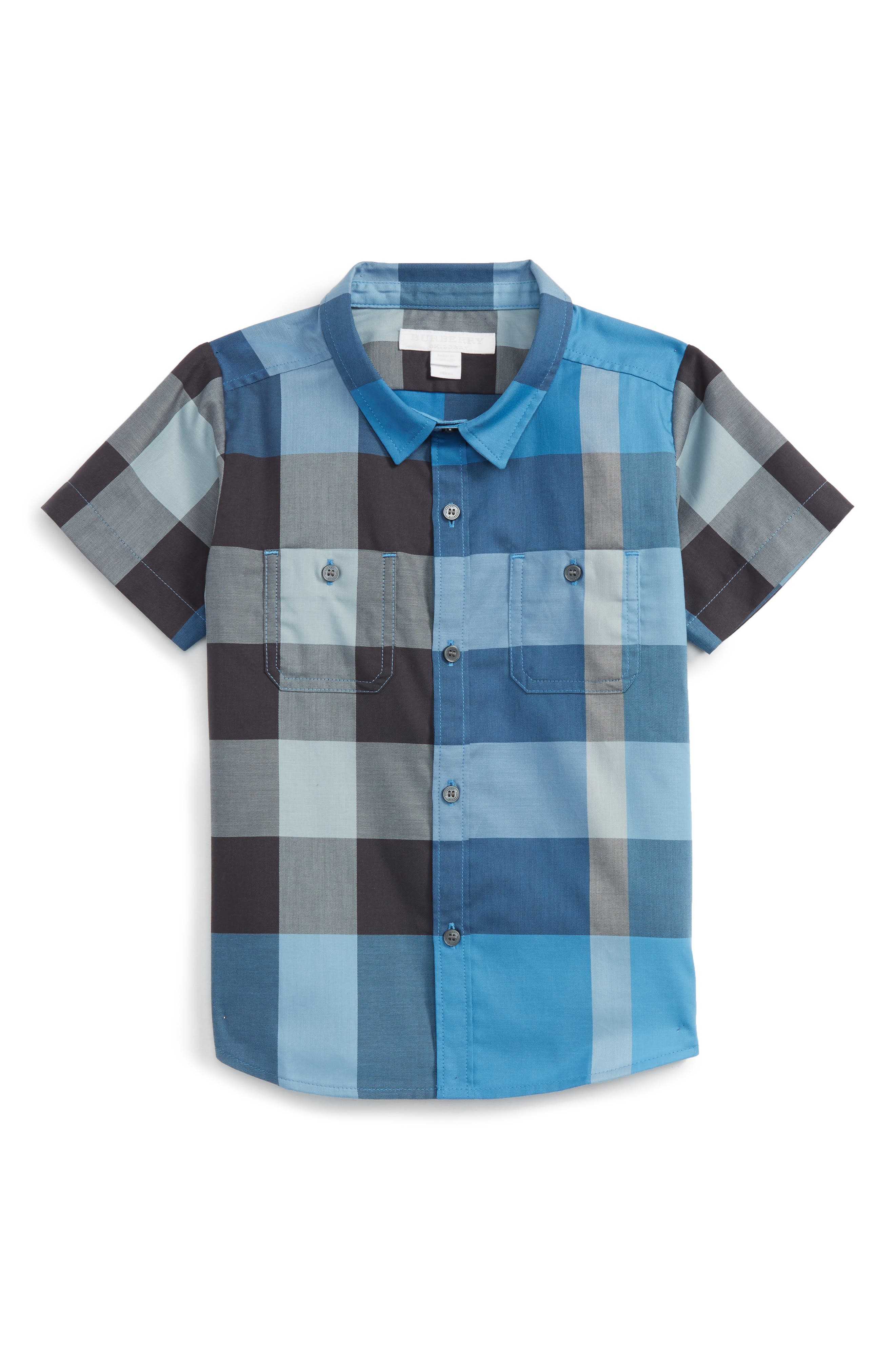Mini Camber Short Sleeve Shirt,                             Main thumbnail 1, color,                             Cornflower Blue