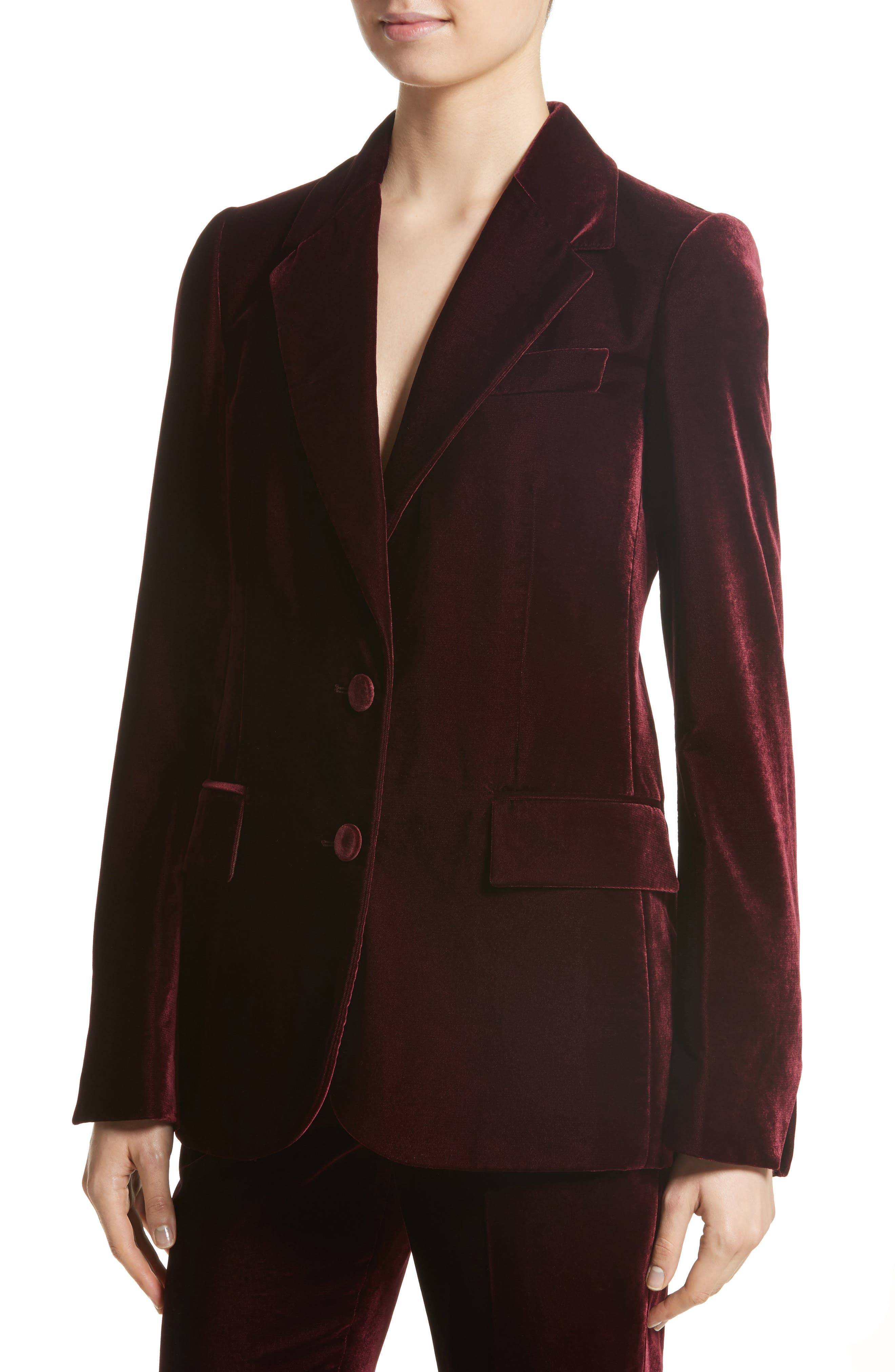 Bonded Velvet Jacket,                             Alternate thumbnail 6, color,                             Burgundy