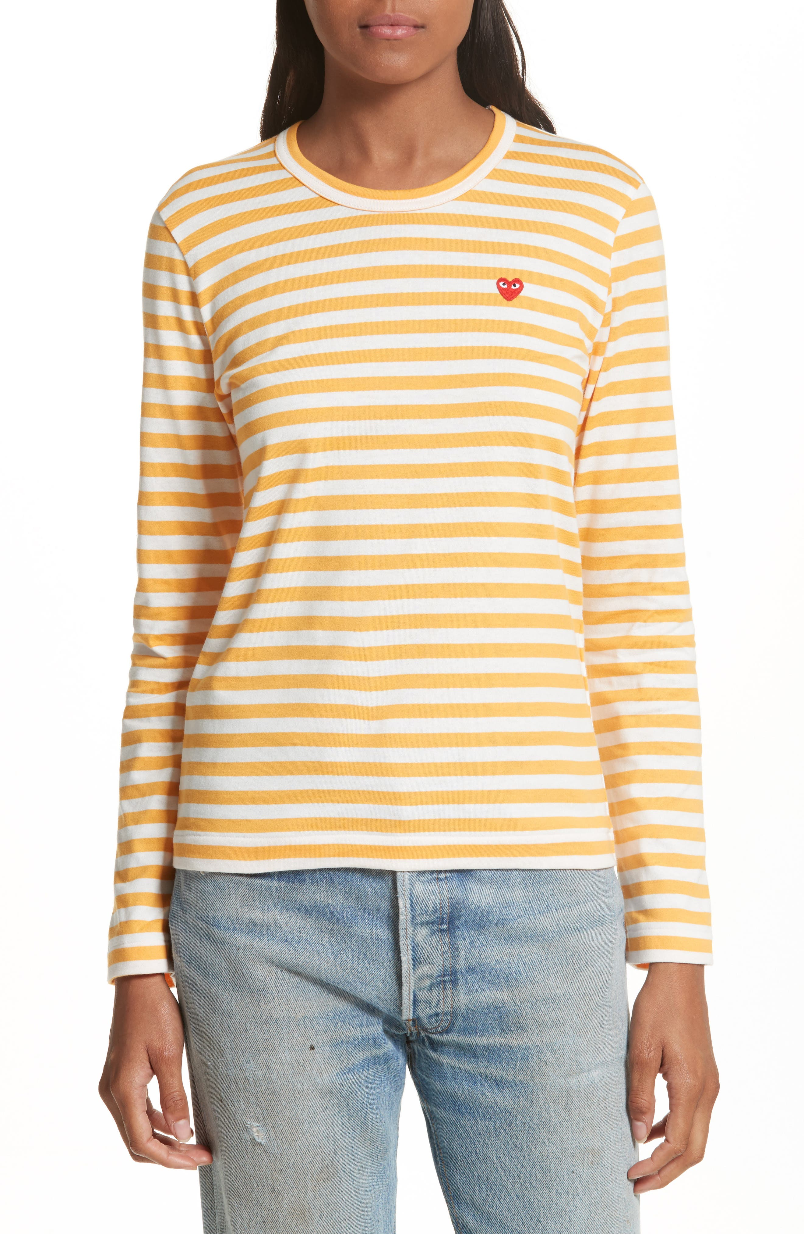PLAY Stripe Cotton Tee,                         Main,                         color, Yellow