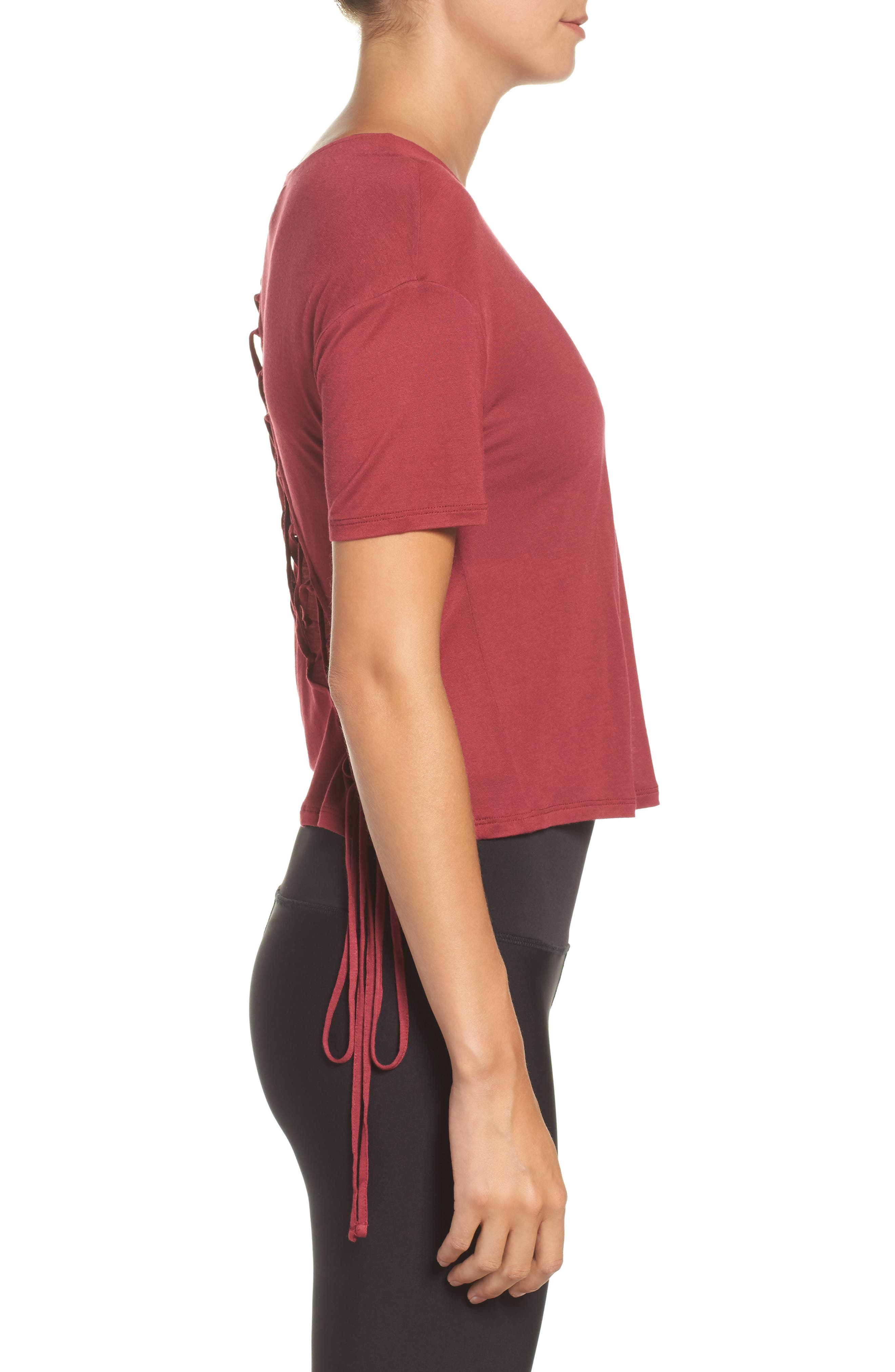 Entwine Crop Tee,                             Alternate thumbnail 3, color,                             Red Velvet