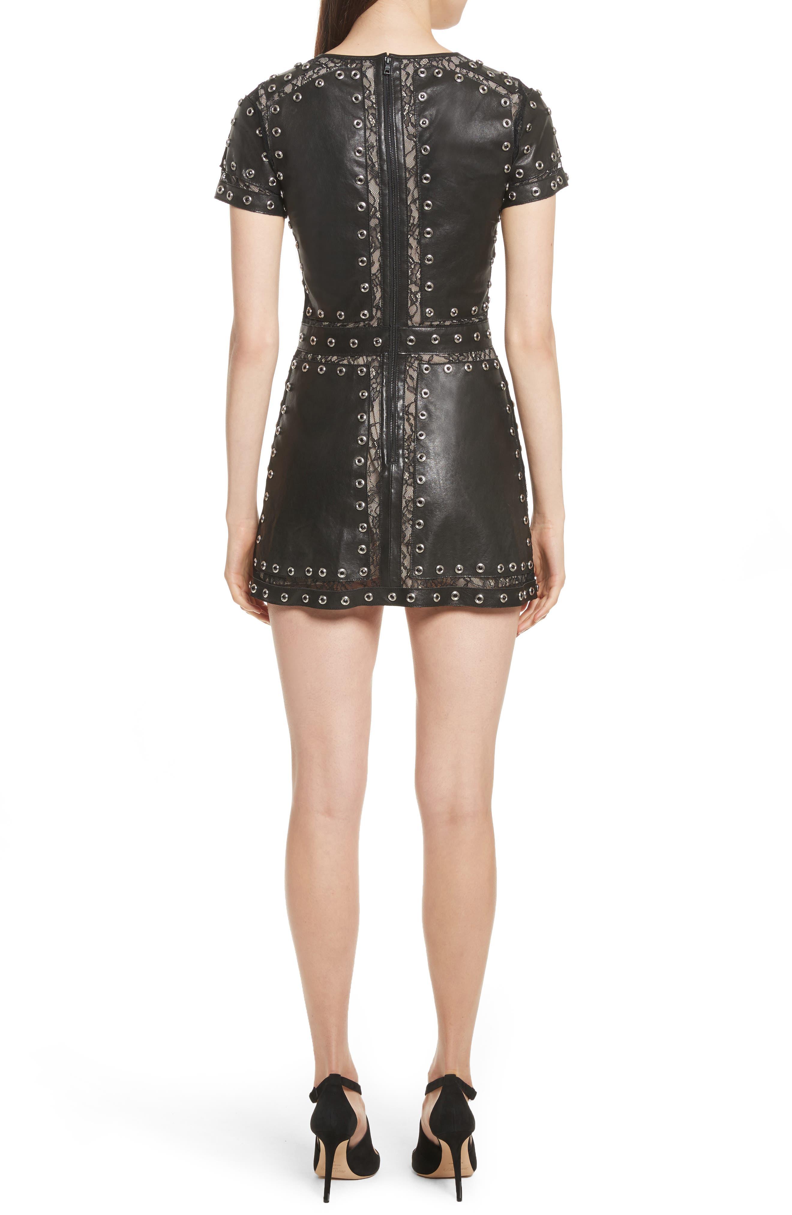 Tahlia Embellished Leather Panel A-Line Dress,                             Alternate thumbnail 2, color,                             Black