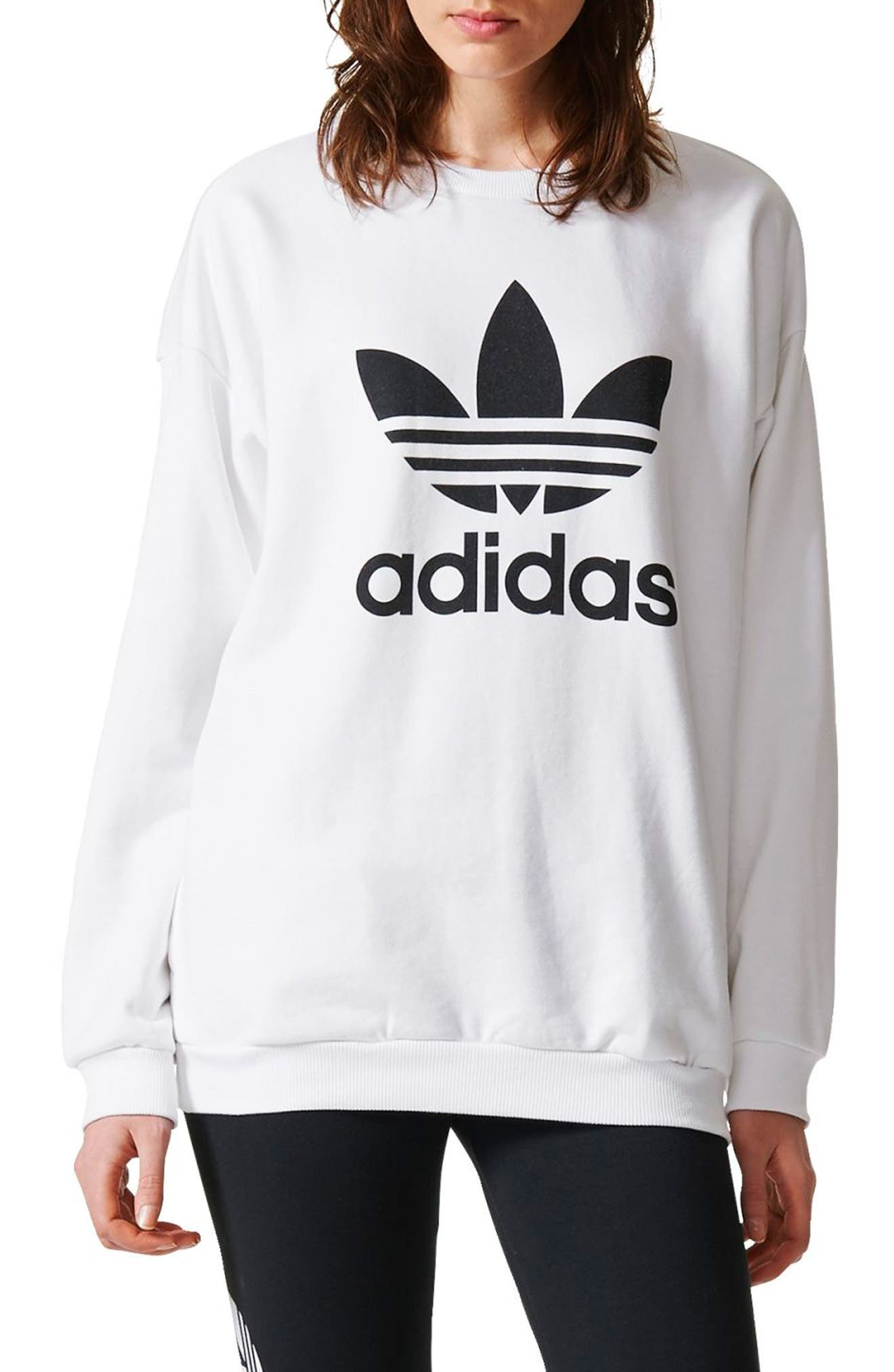 Originals Trefoil Crewneck Sweatshirt,                         Main,                         color, White