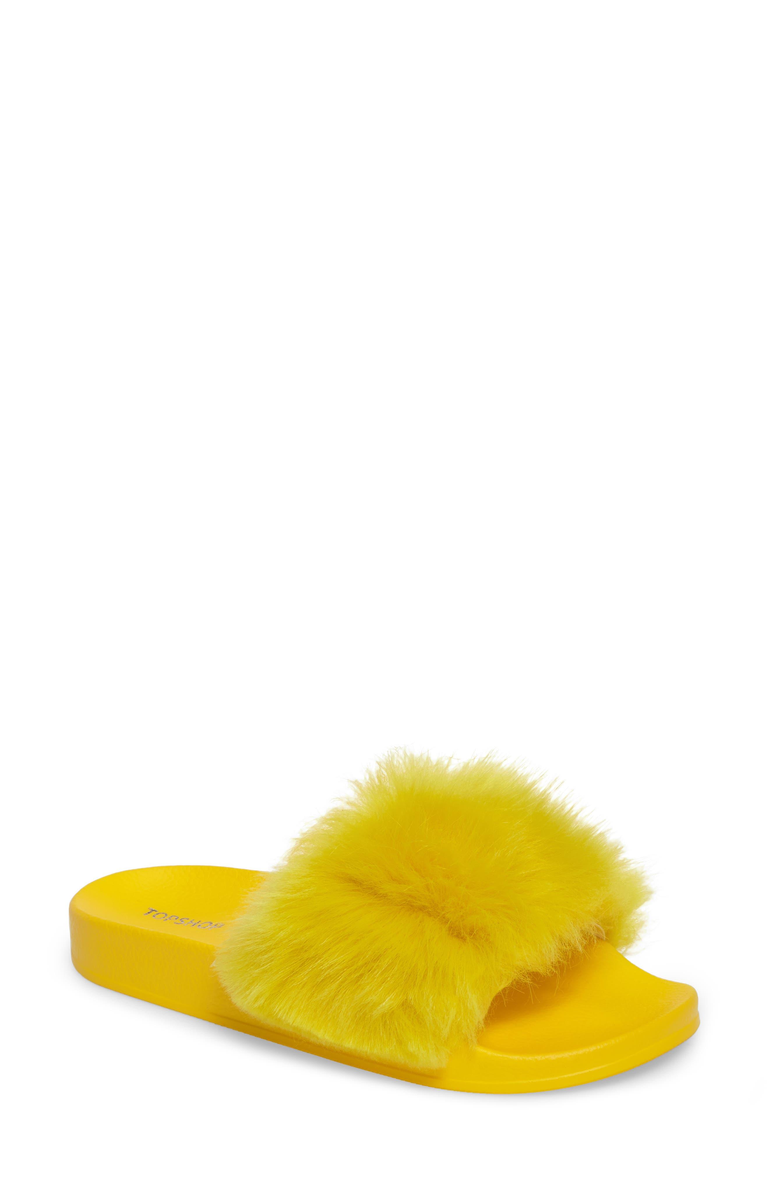Topshop Hoot Faux Fur Slide Sandal (Women)