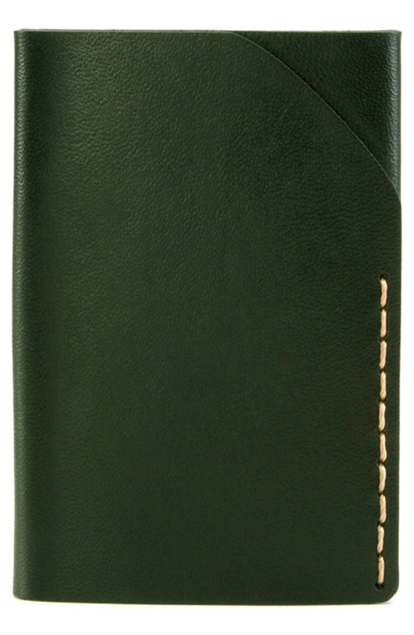 No. 2 Leather Card Case,                         Main,                         color, Green
