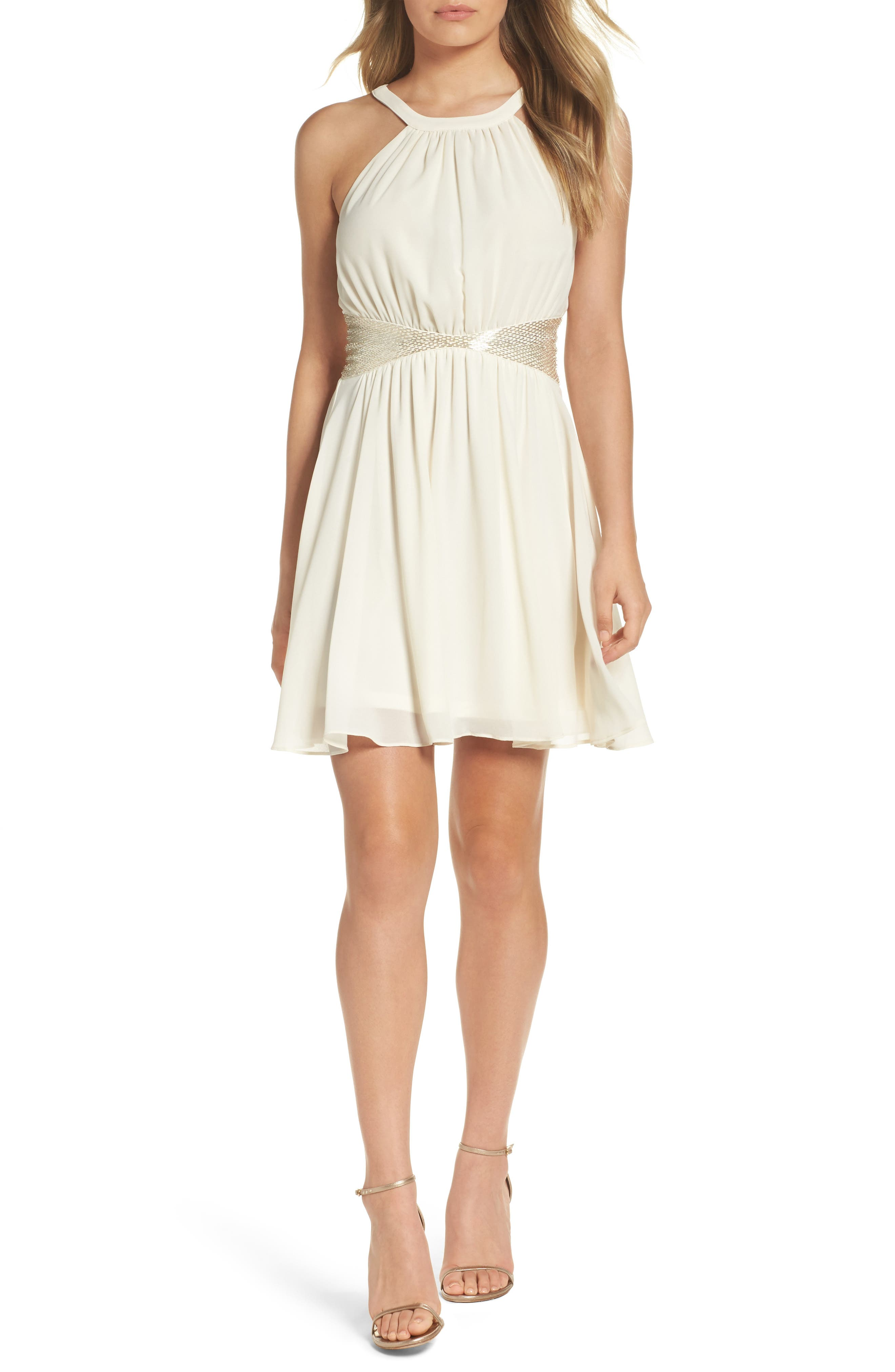 One More Night Beaded Skater Dress,                         Main,                         color, Cream