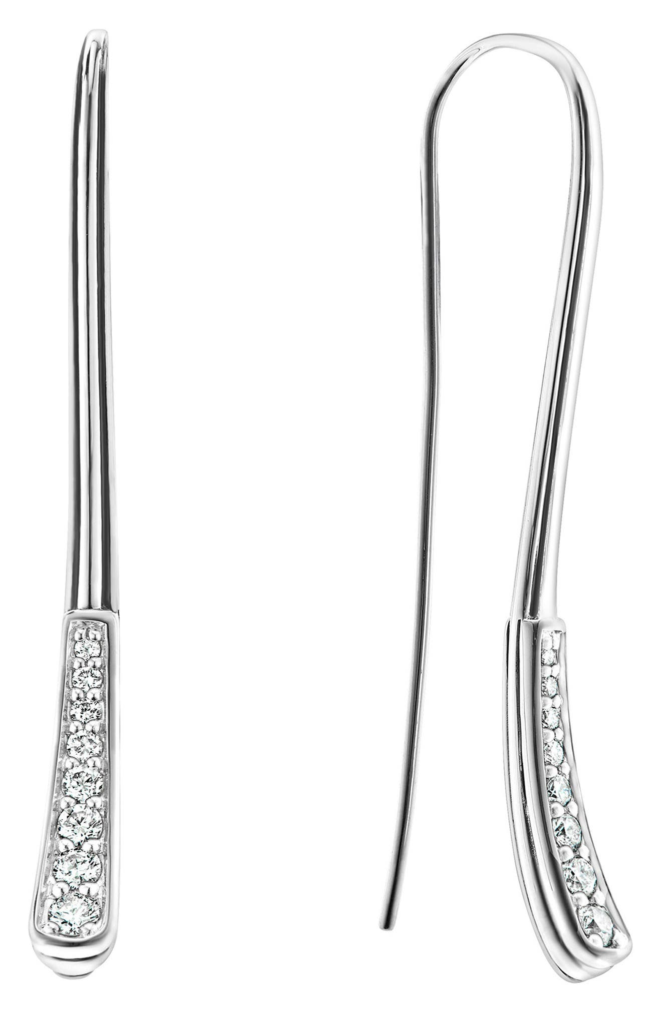 Caviar Diamond Fluted Drop Earrings,                         Main,                         color, Diamond