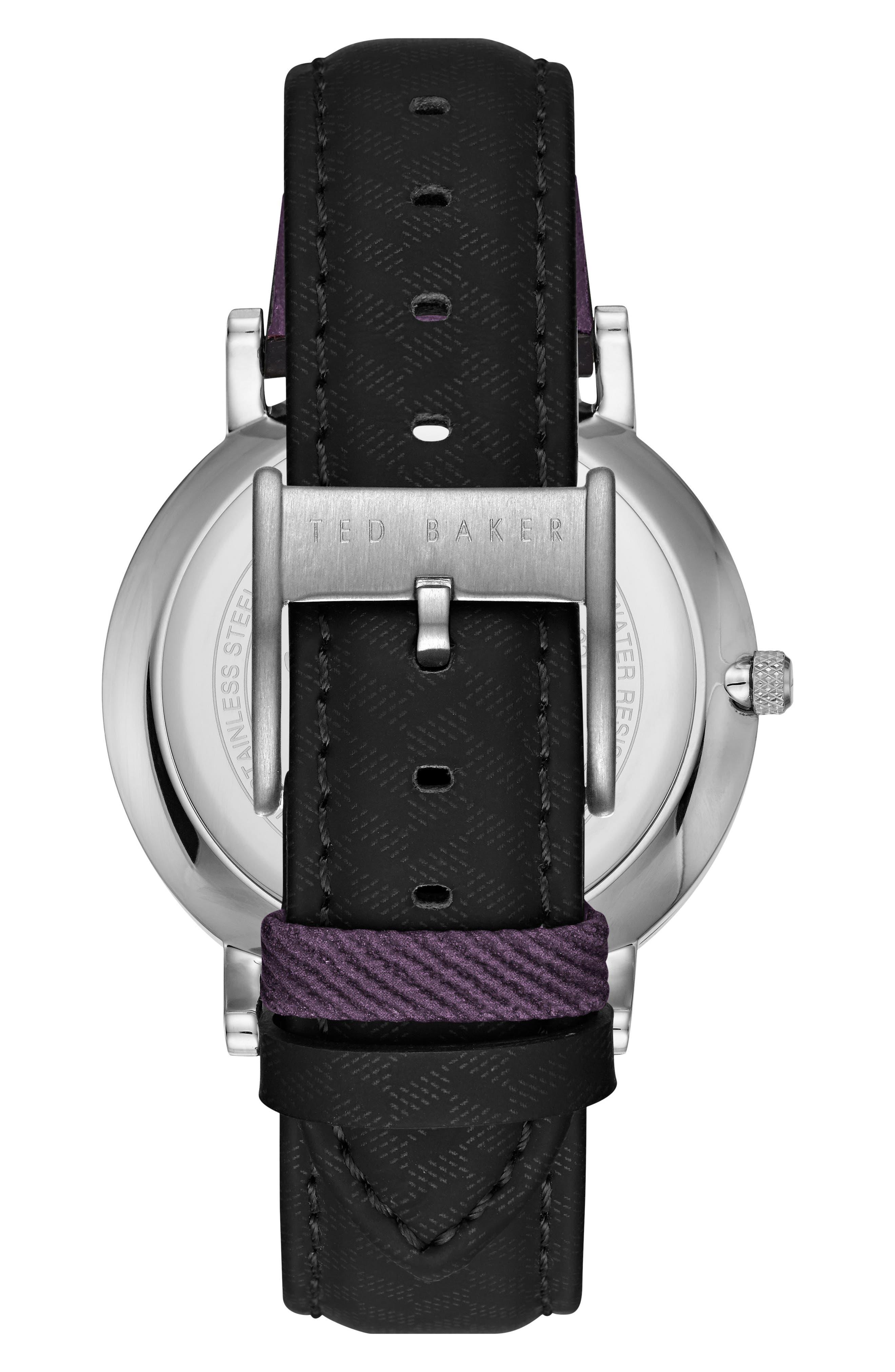 David Leather Strap Watch, 40mm,                             Alternate thumbnail 2, color,                             Black/ Black