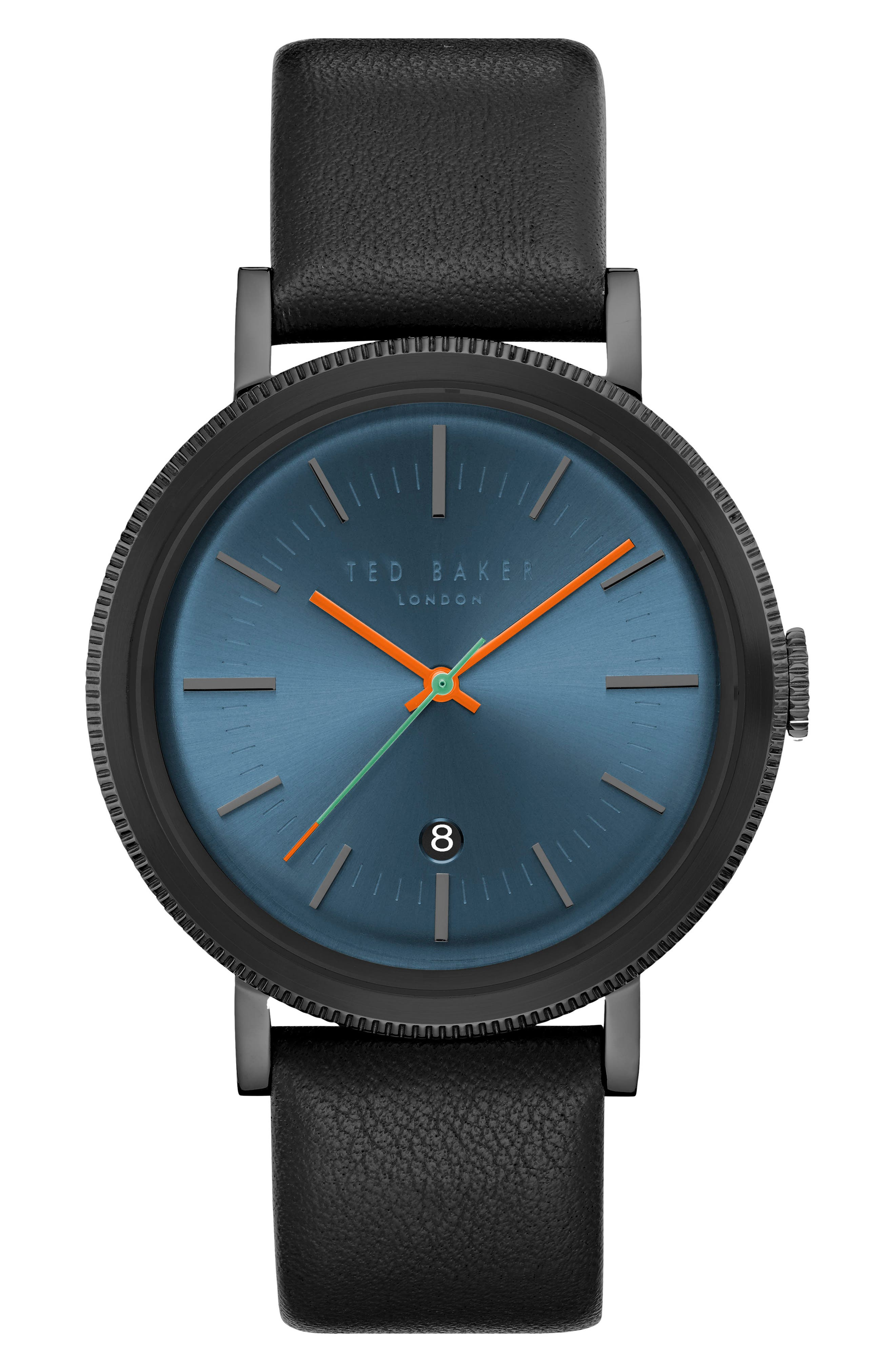 Connor Leather Strap Watch, 42mm,                             Main thumbnail 1, color,                             Dark Blue/ Black