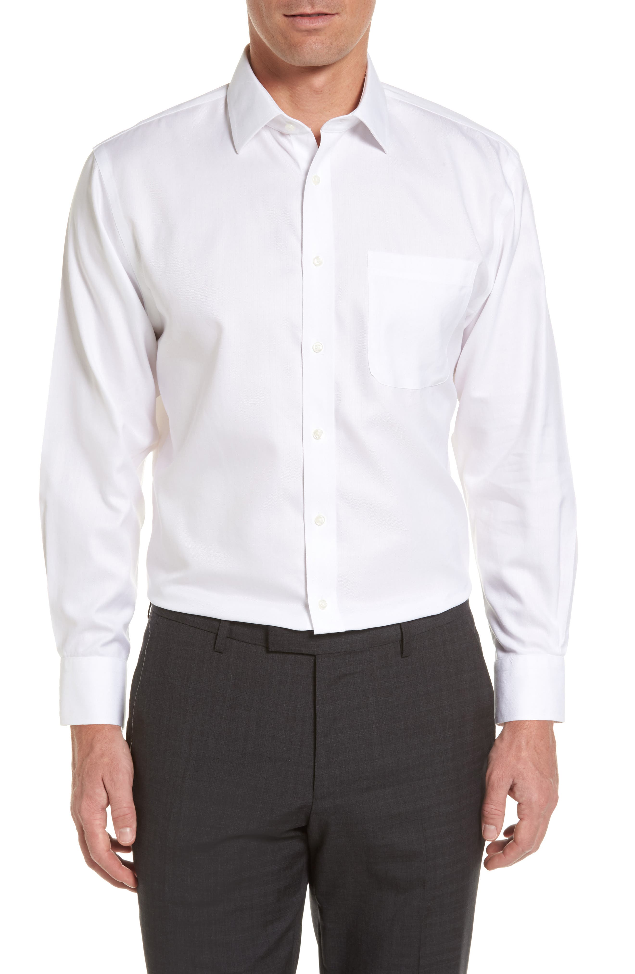 Smartcare<sup>™</sup> Traditional Fit Herringbone Dress Shirt,                         Main,                         color, White