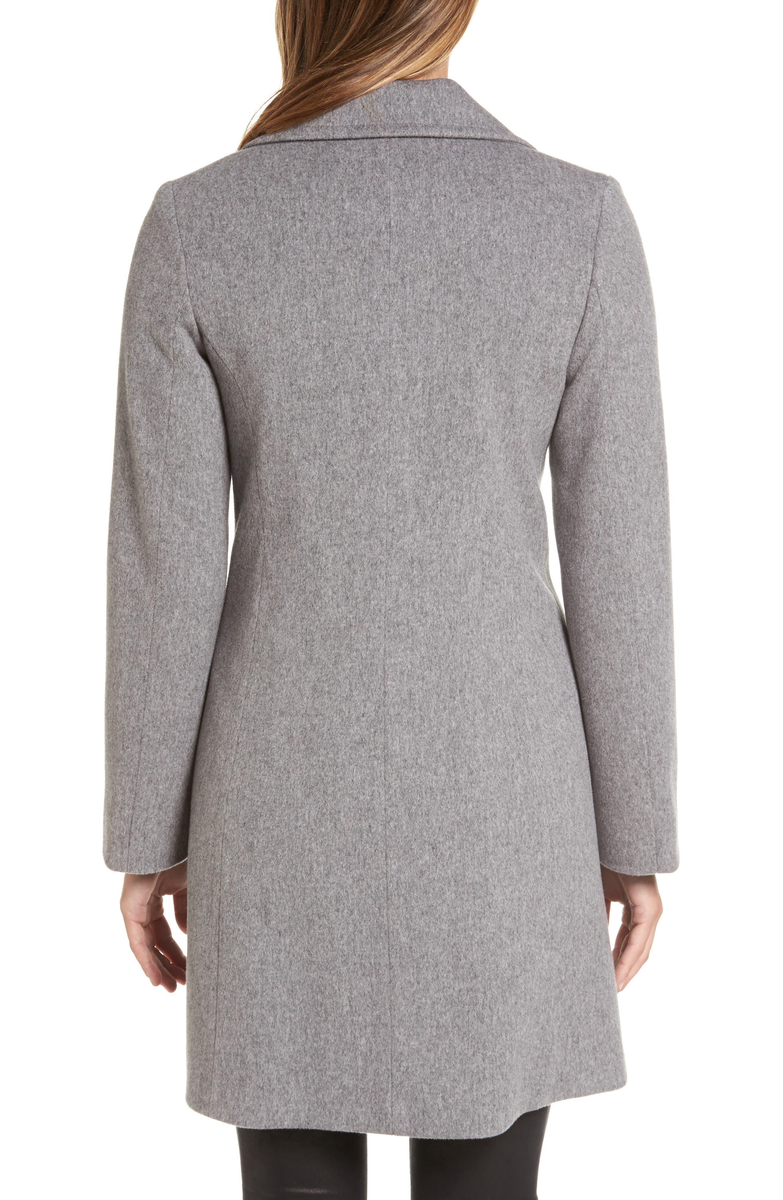 Alternate Image 2  - Fleurette Notch Collar Wool Walking Coat (Regular & Petite)