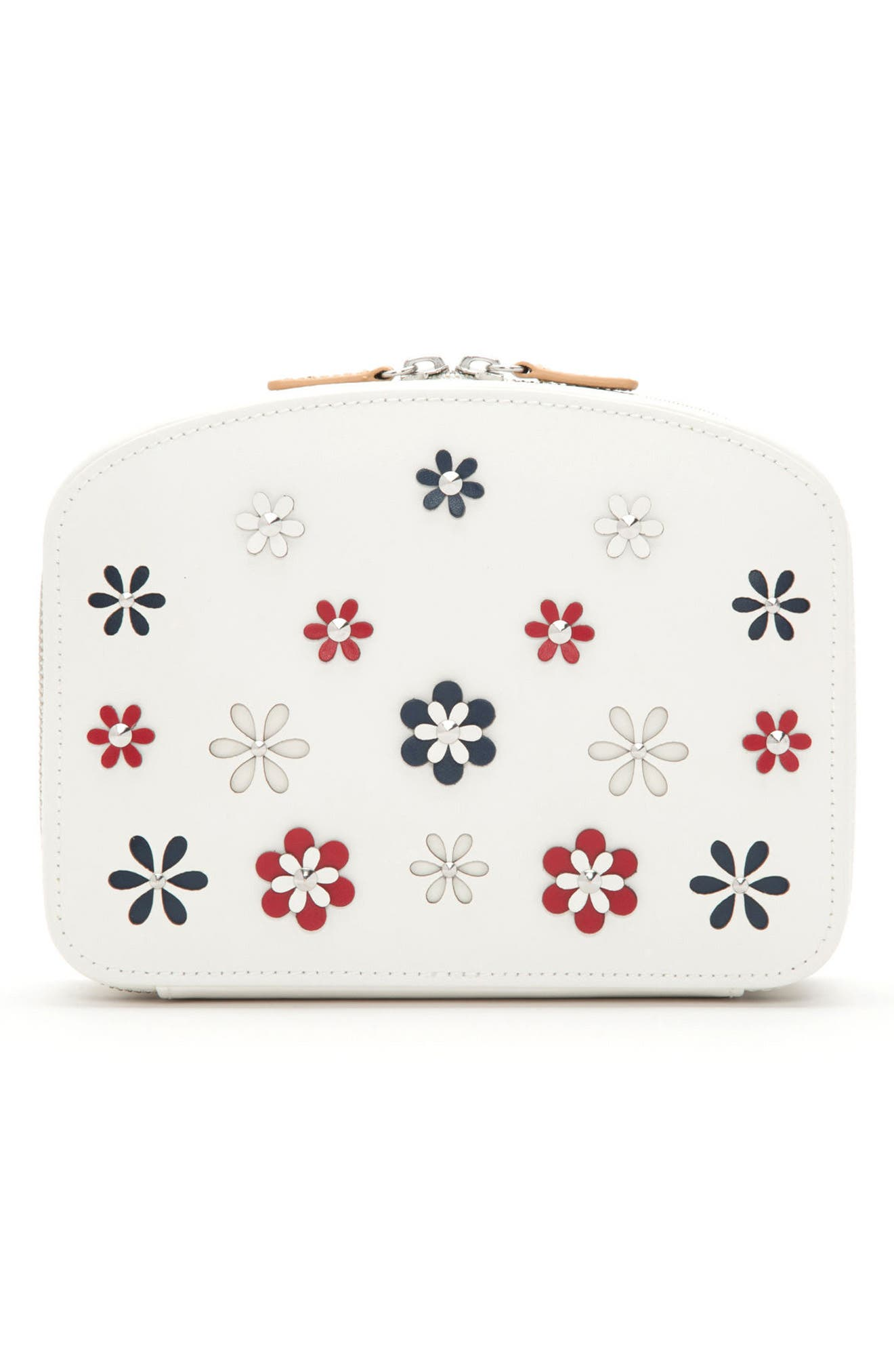 Blossom Leather Travel Jewelry Case,                         Main,                         color, Ivory
