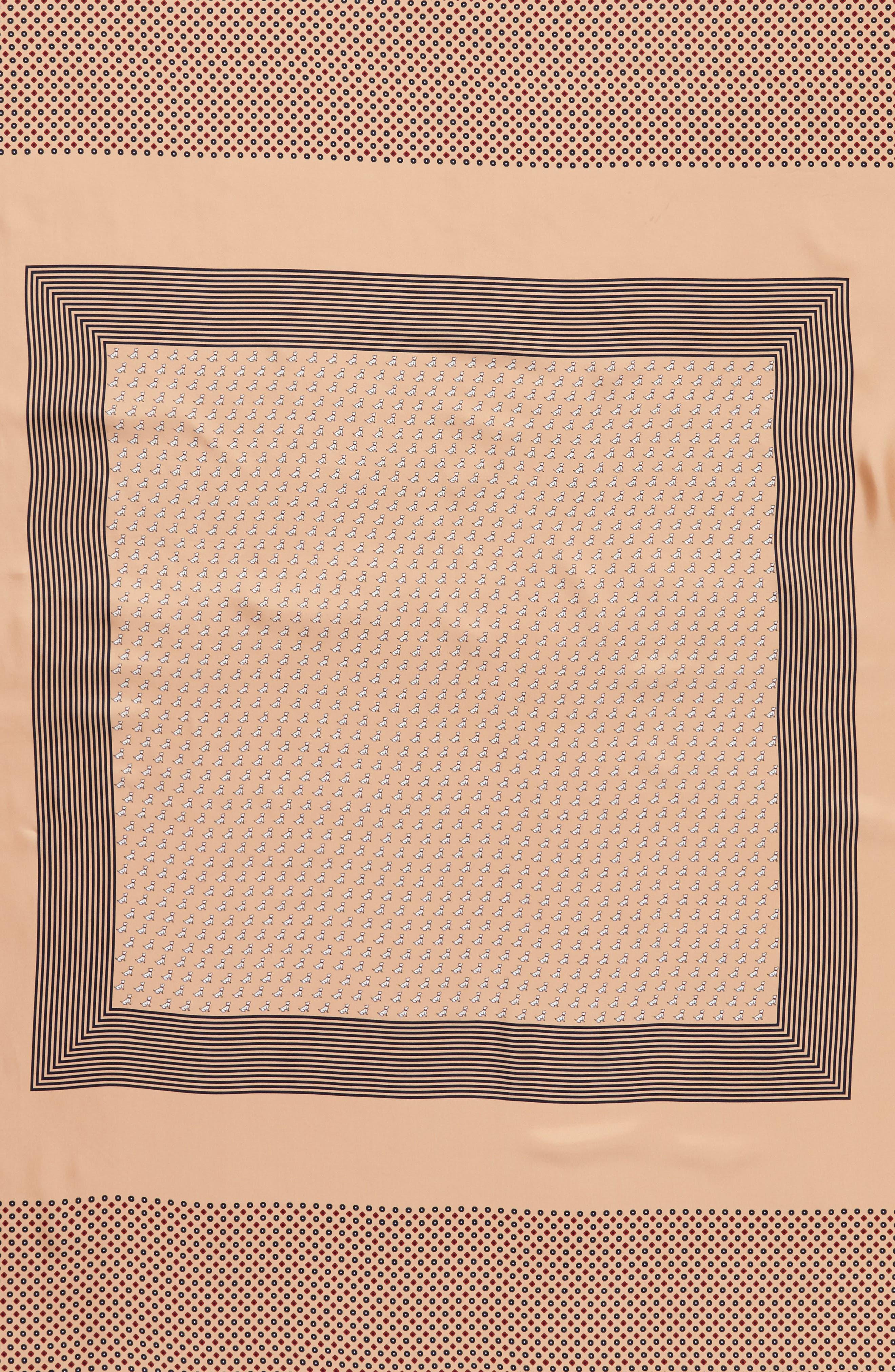 Mixed Print Silk Scarf,                             Alternate thumbnail 4, color,                             Camel