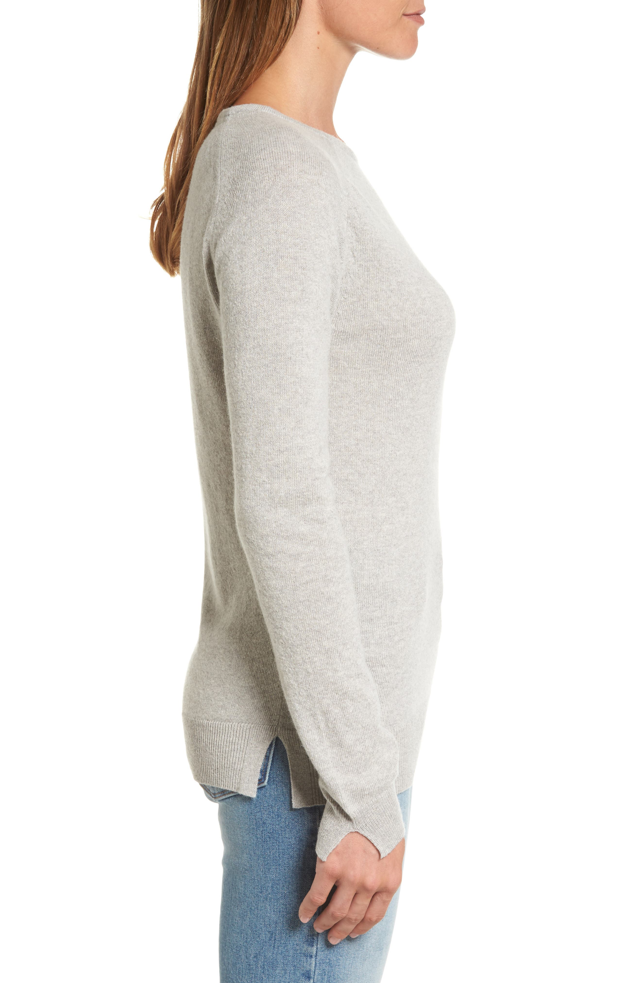 Mill Wool Blend Boatneck Sweater,                             Alternate thumbnail 3, color,                             Light Grey Marl
