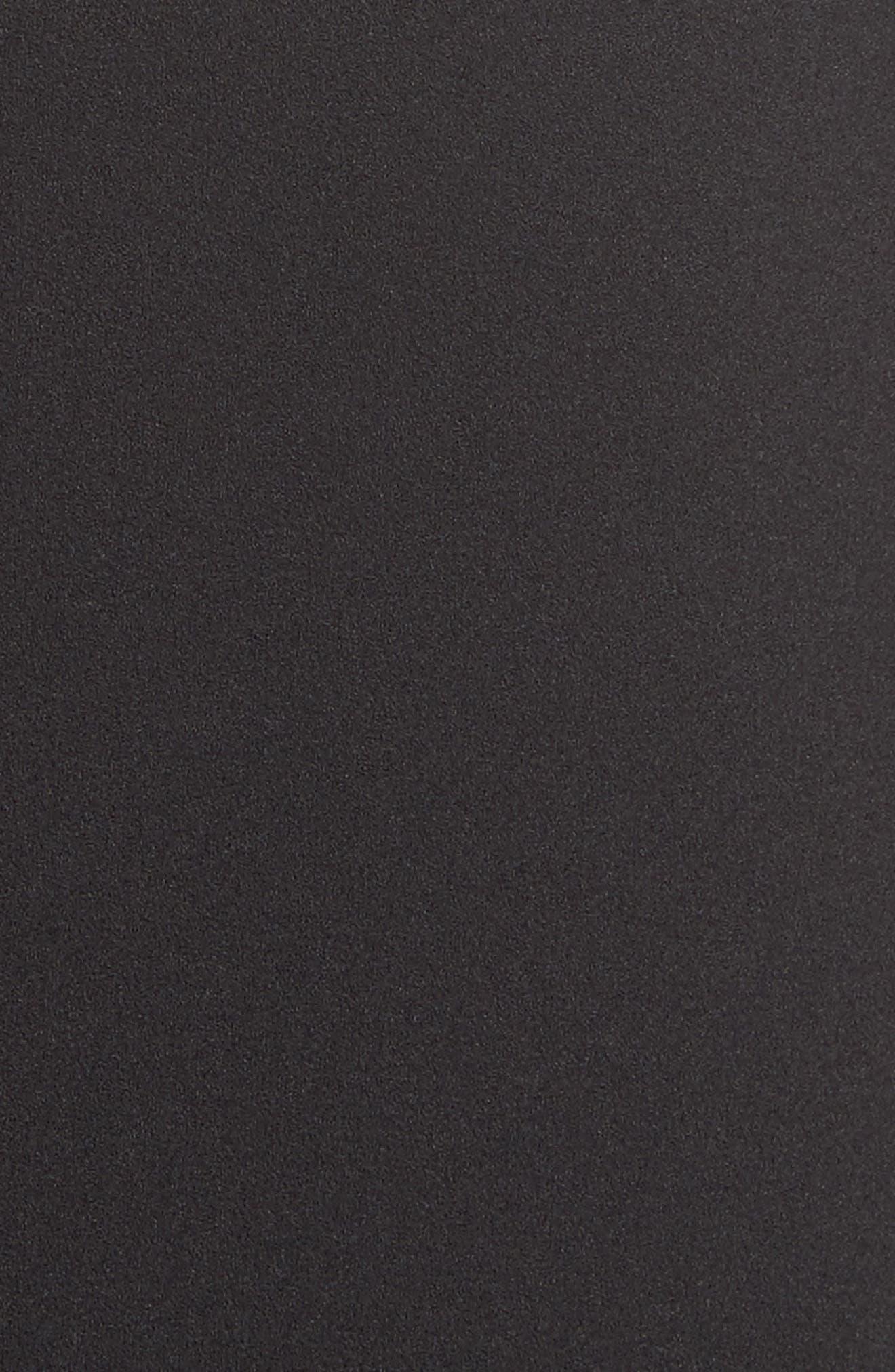 Crepe Ruched Sleeve Shift Dress,                             Alternate thumbnail 5, color,                             Black
