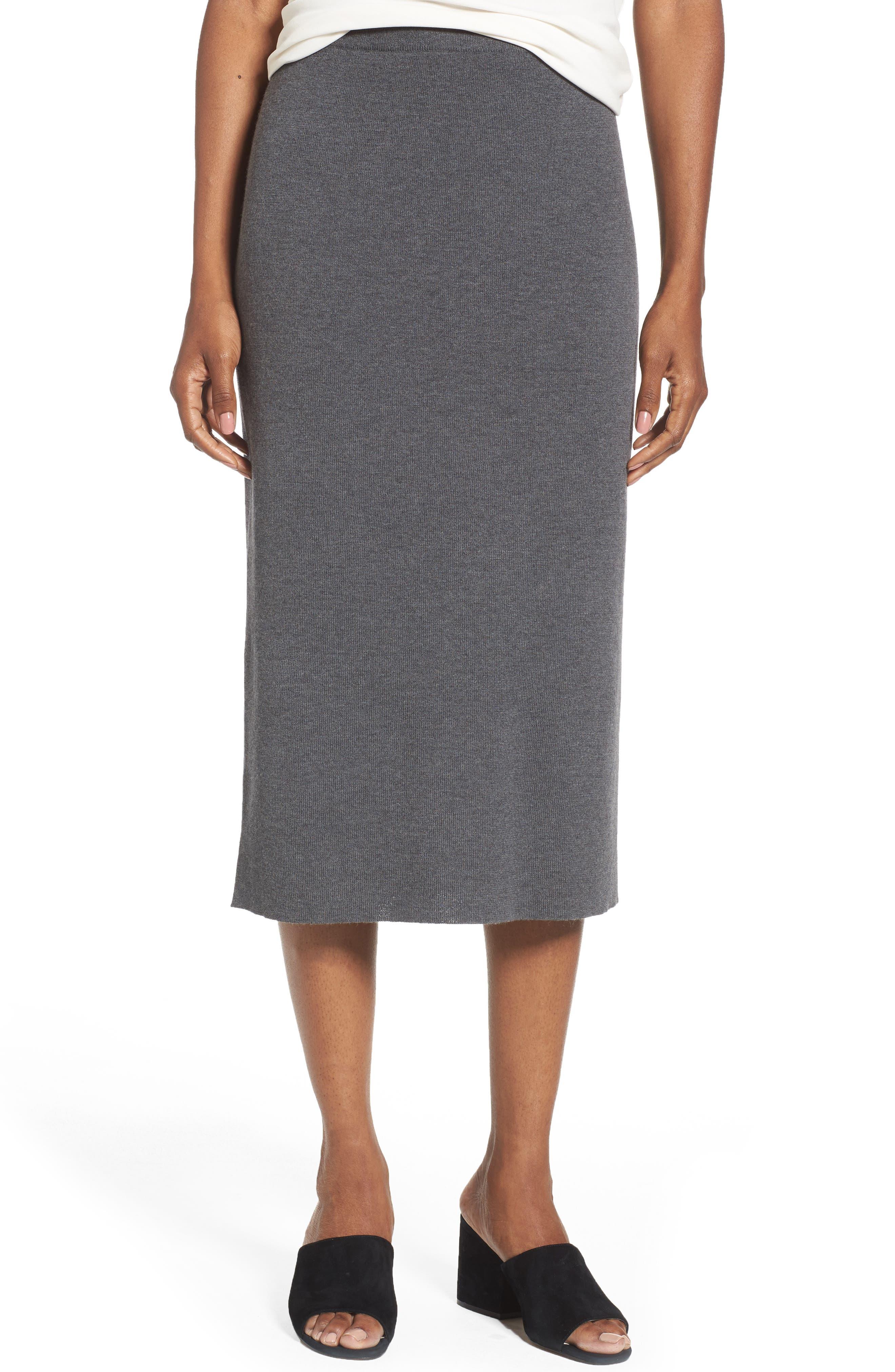 Eileen Fisher Wool Knit Pencil Skirt