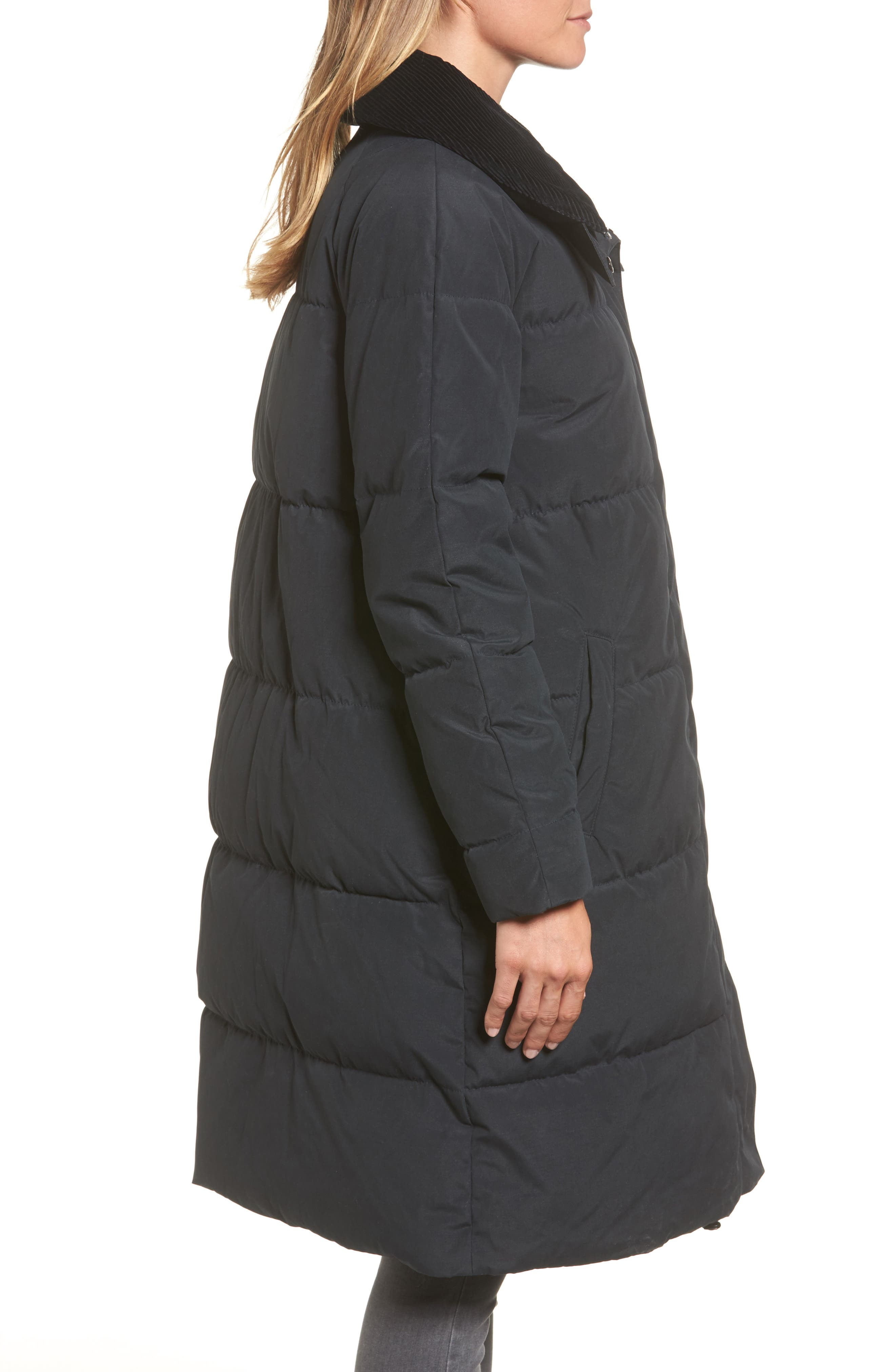Leck Water Resistant Baffle Quilted Coat,                             Alternate thumbnail 3, color,                             Navy