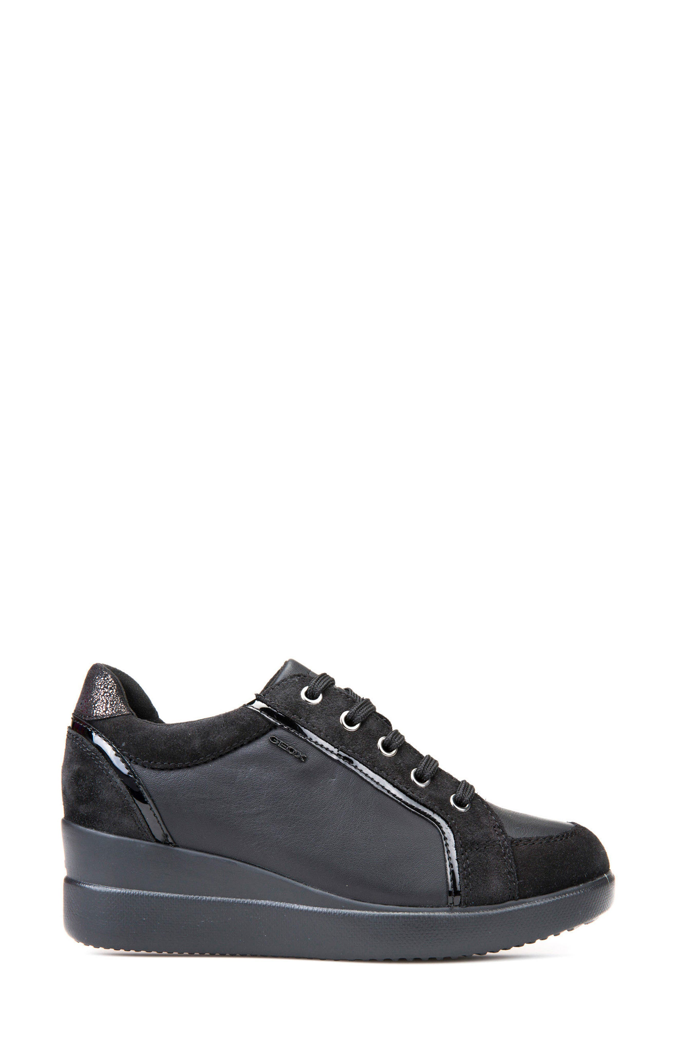Stardust Wedge Sneaker,                             Alternate thumbnail 3, color,                             Black Leather