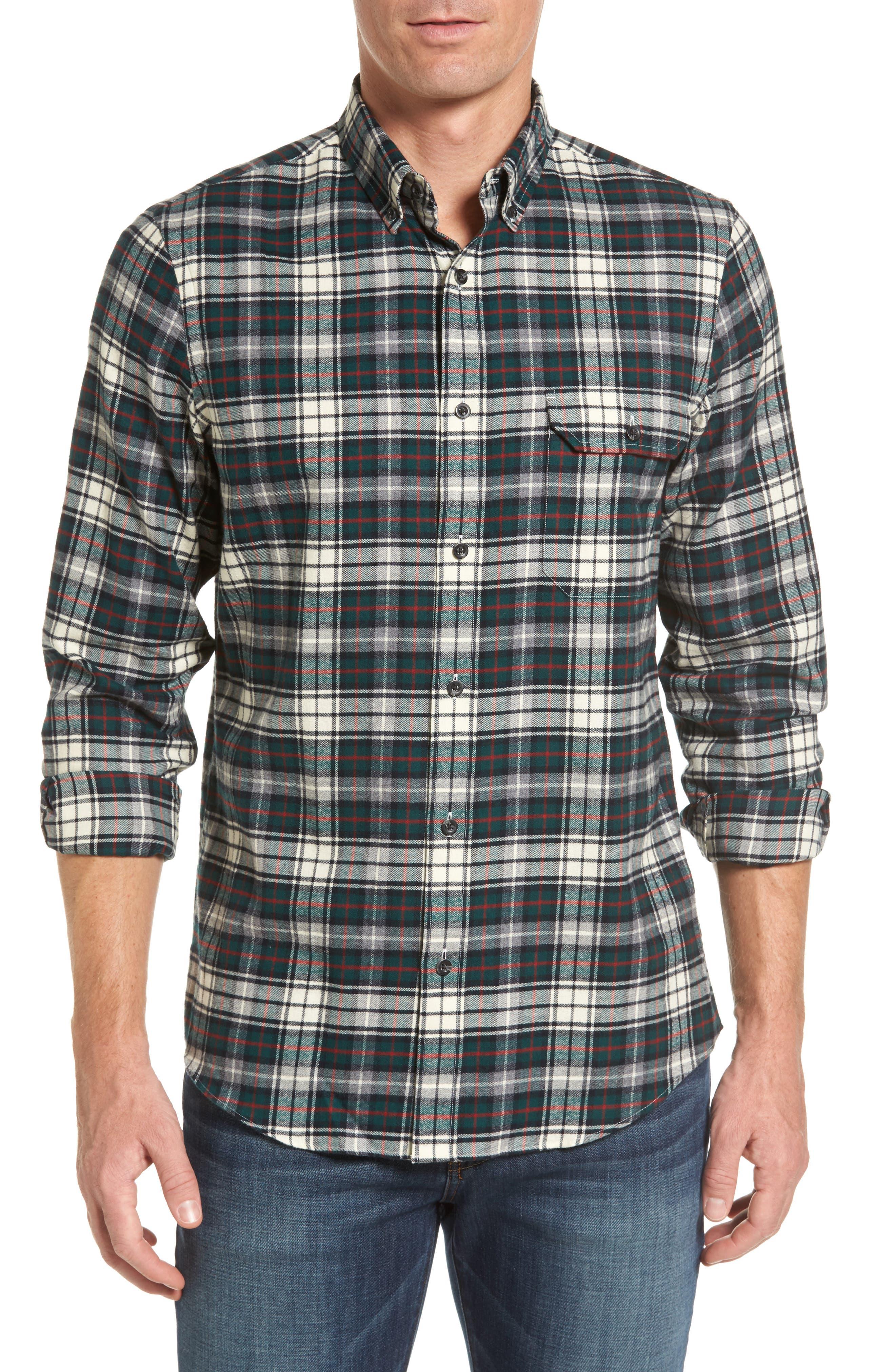 Regular Fit Plaid Sport Shirt,                         Main,                         color, Green Bug Plaid Flannel