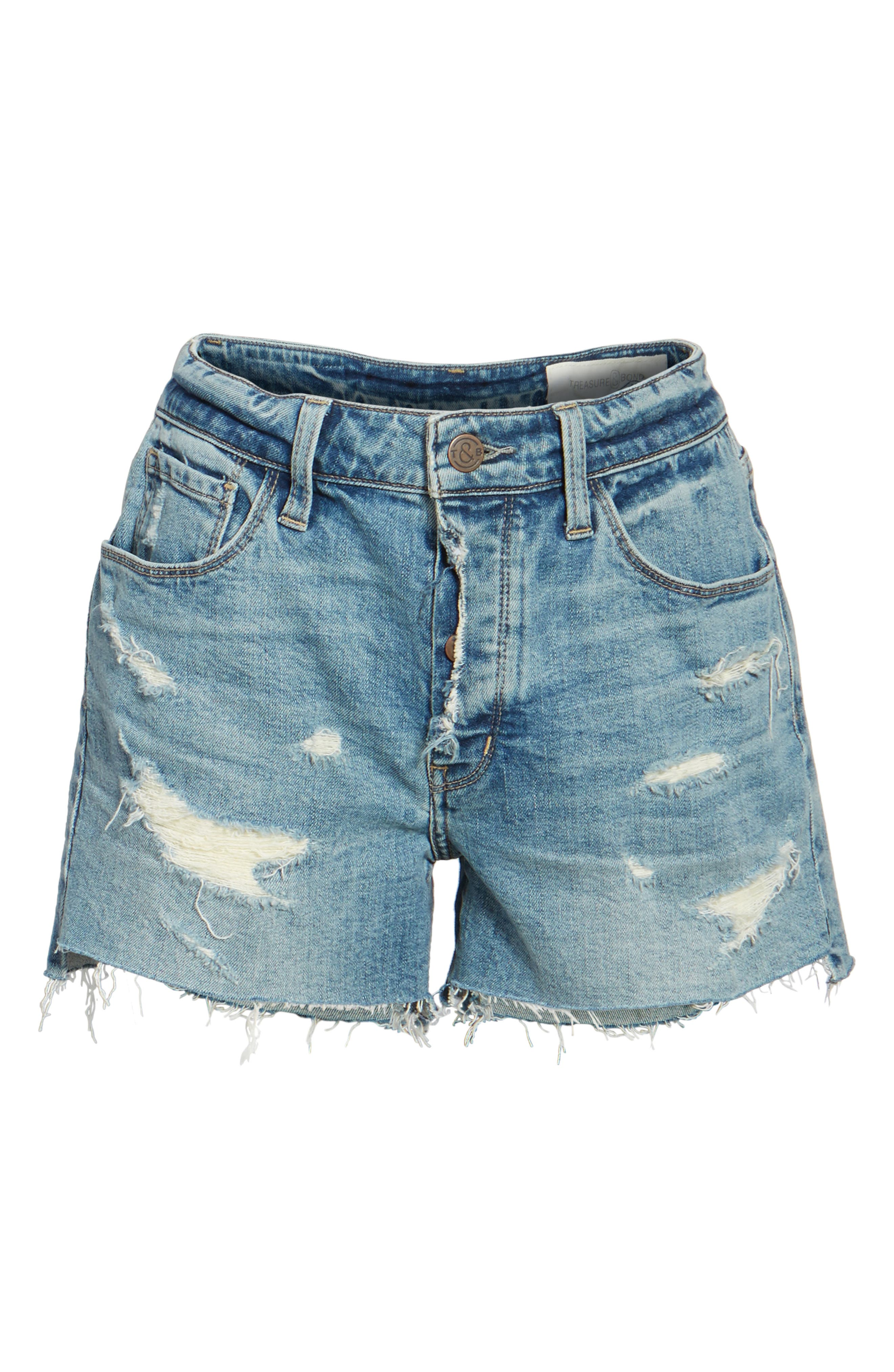 Alternate Image 6  - Treasure & Bond High Waist Boyfriend Cutoff Denim Shorts (Gravel Medium Vintage)