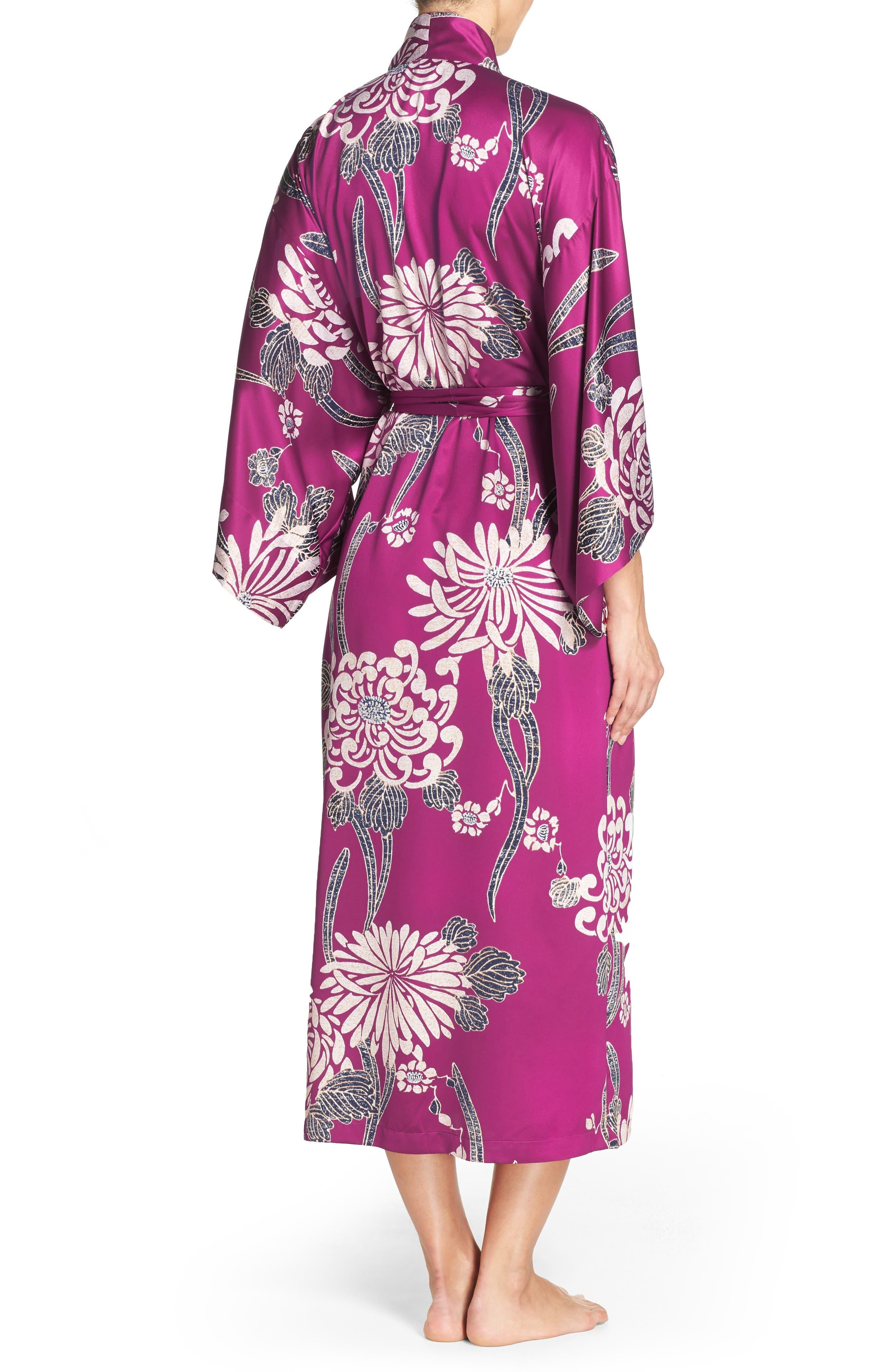 Aizome Satin Robe,                             Alternate thumbnail 2, color,                             Petunia