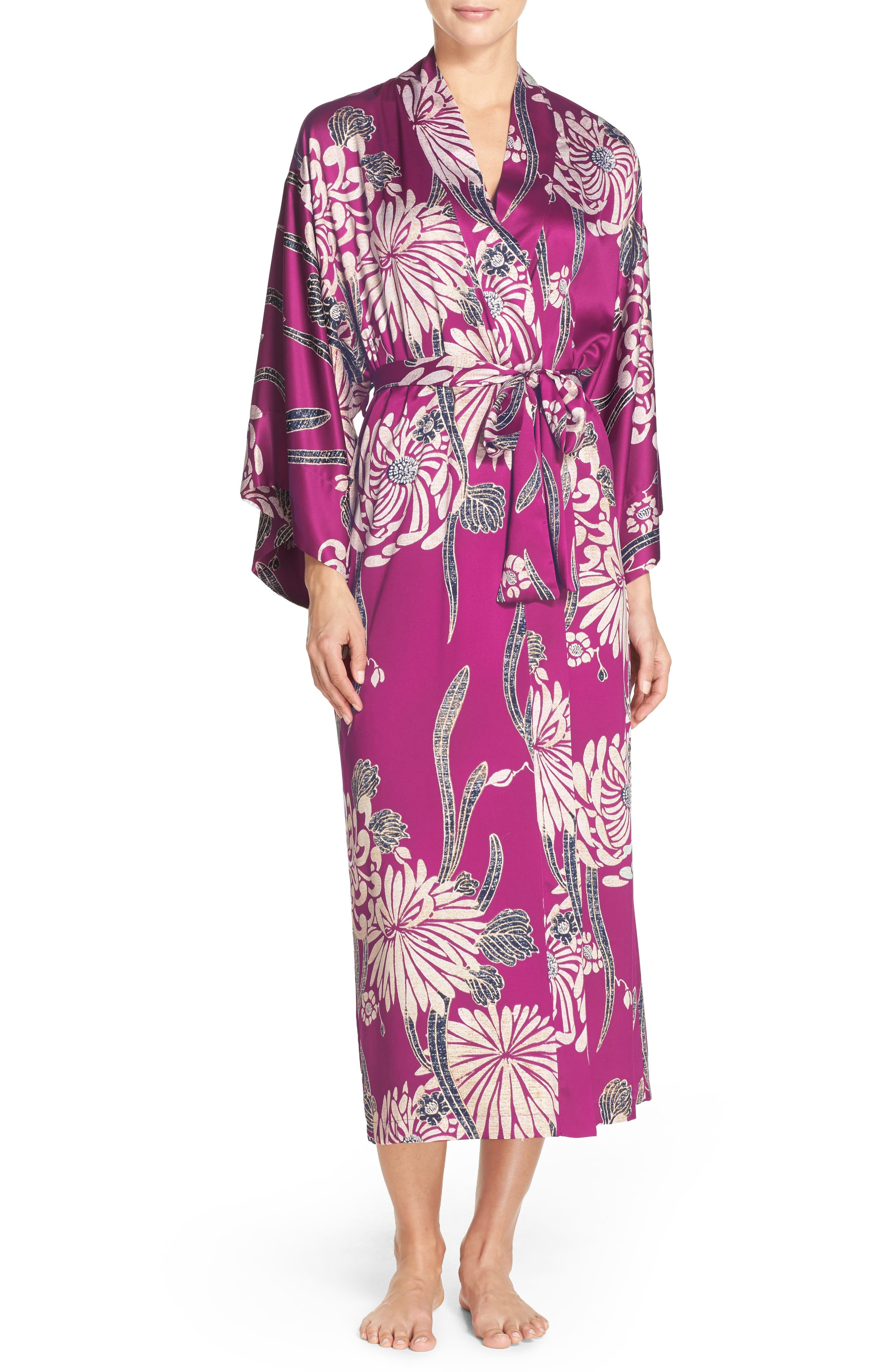 Aizome Satin Robe,                         Main,                         color, Petunia