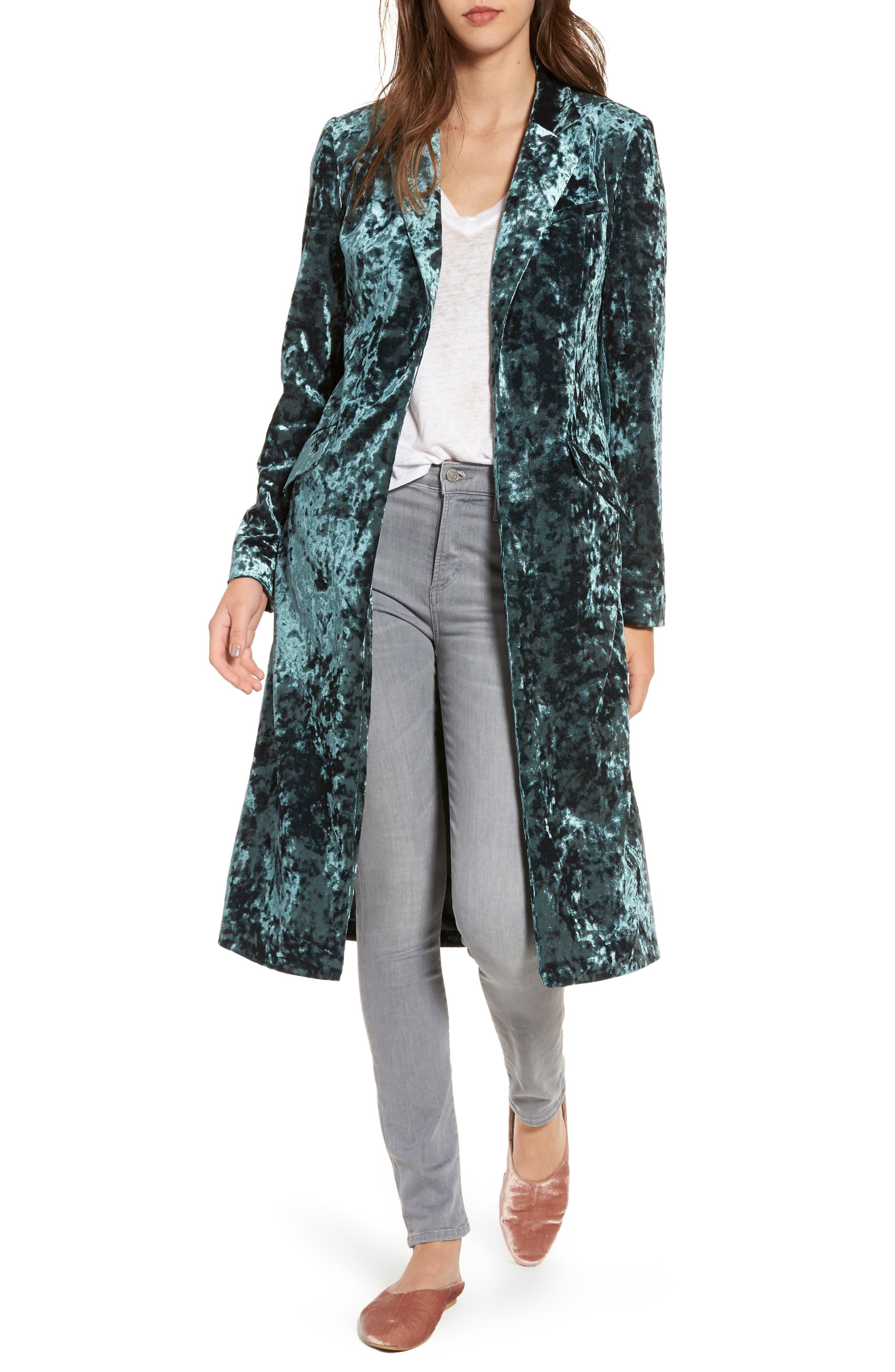 Long Velour Jacket,                         Main,                         color, Green Wood