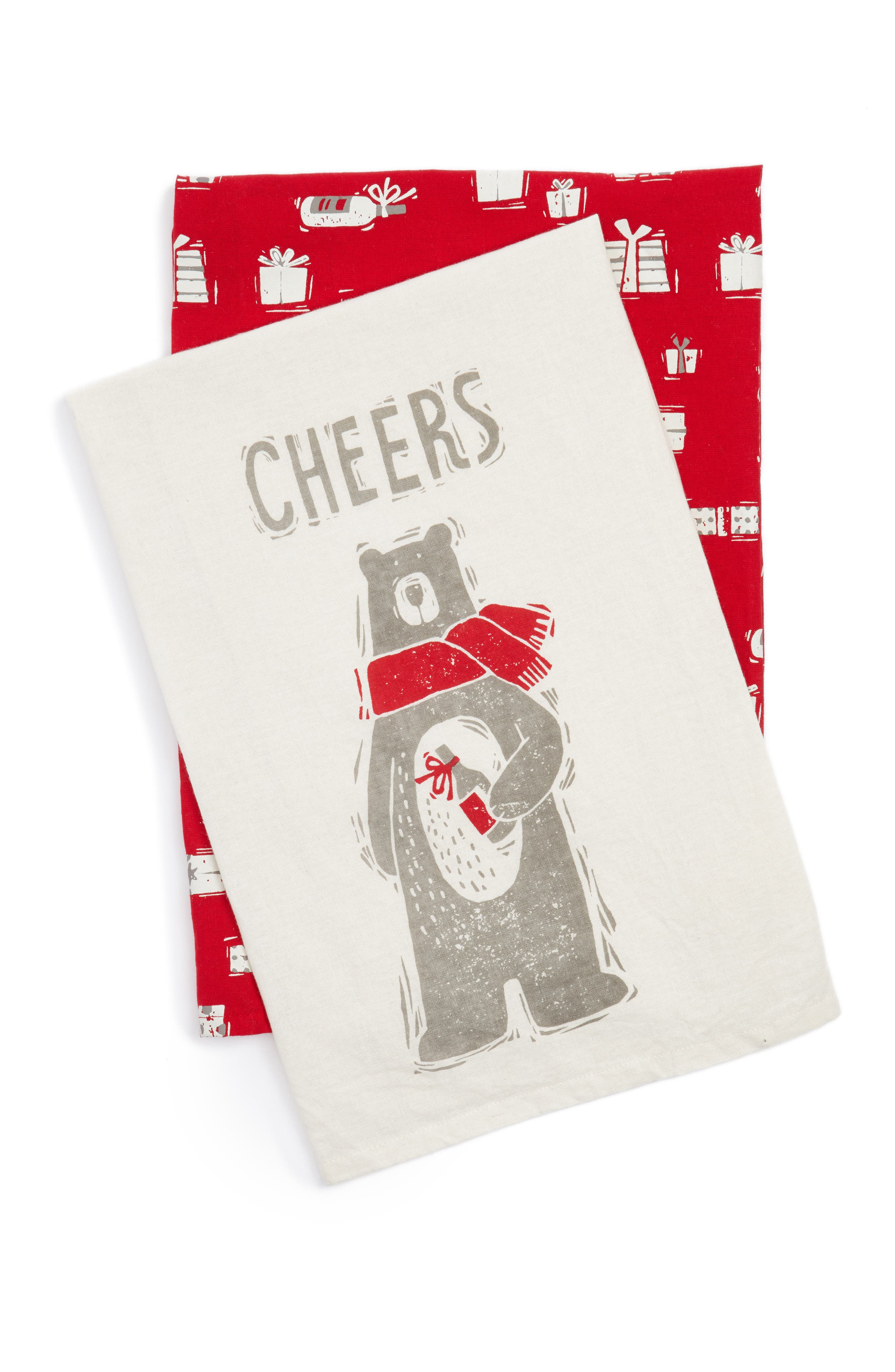Cheers Set of 2 Dish Towels,                         Main,                         color, Ivory