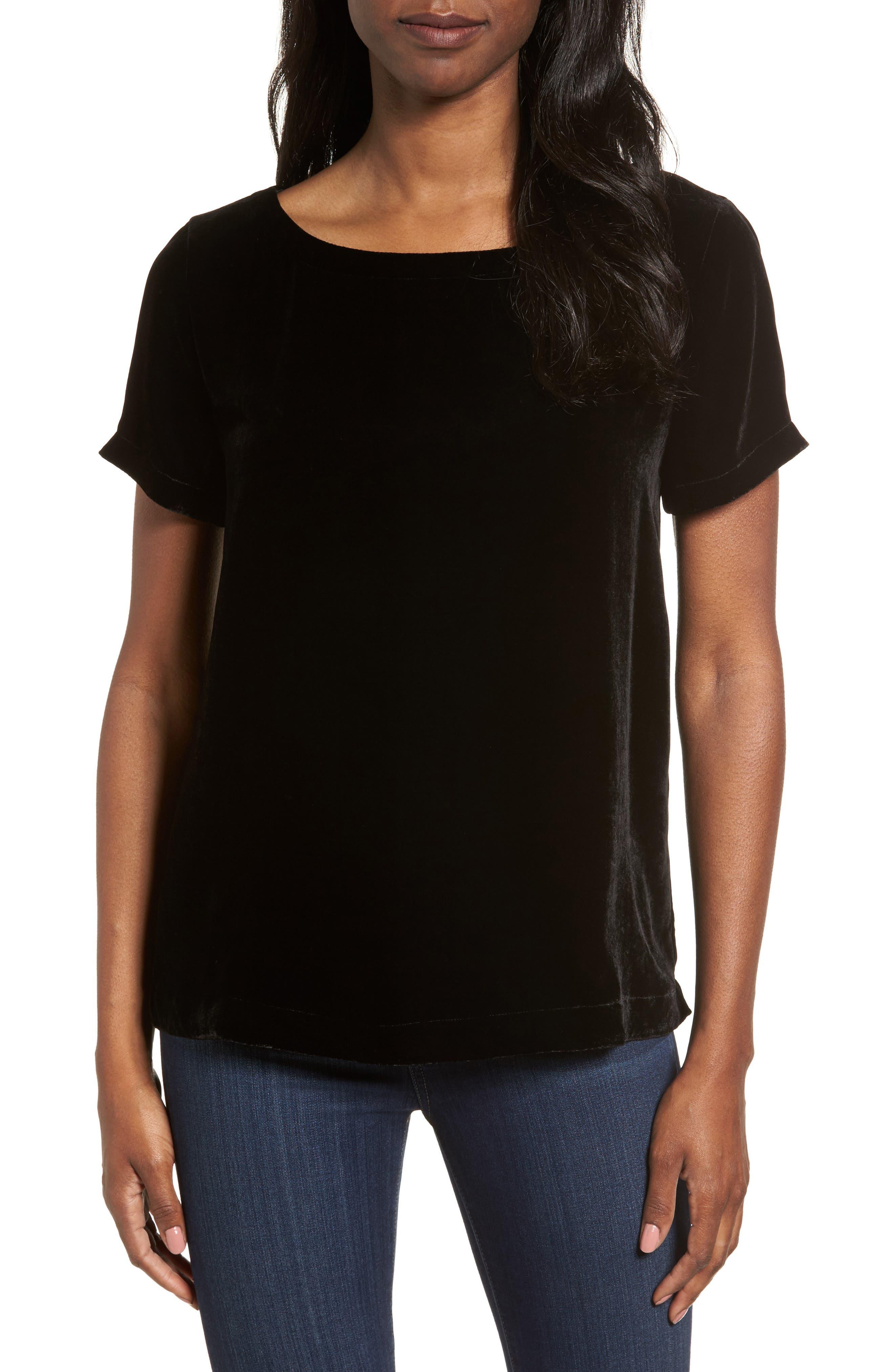 Alternate Image 1 Selected - Eileen Fisher Velvet Top (Regular & Petite)