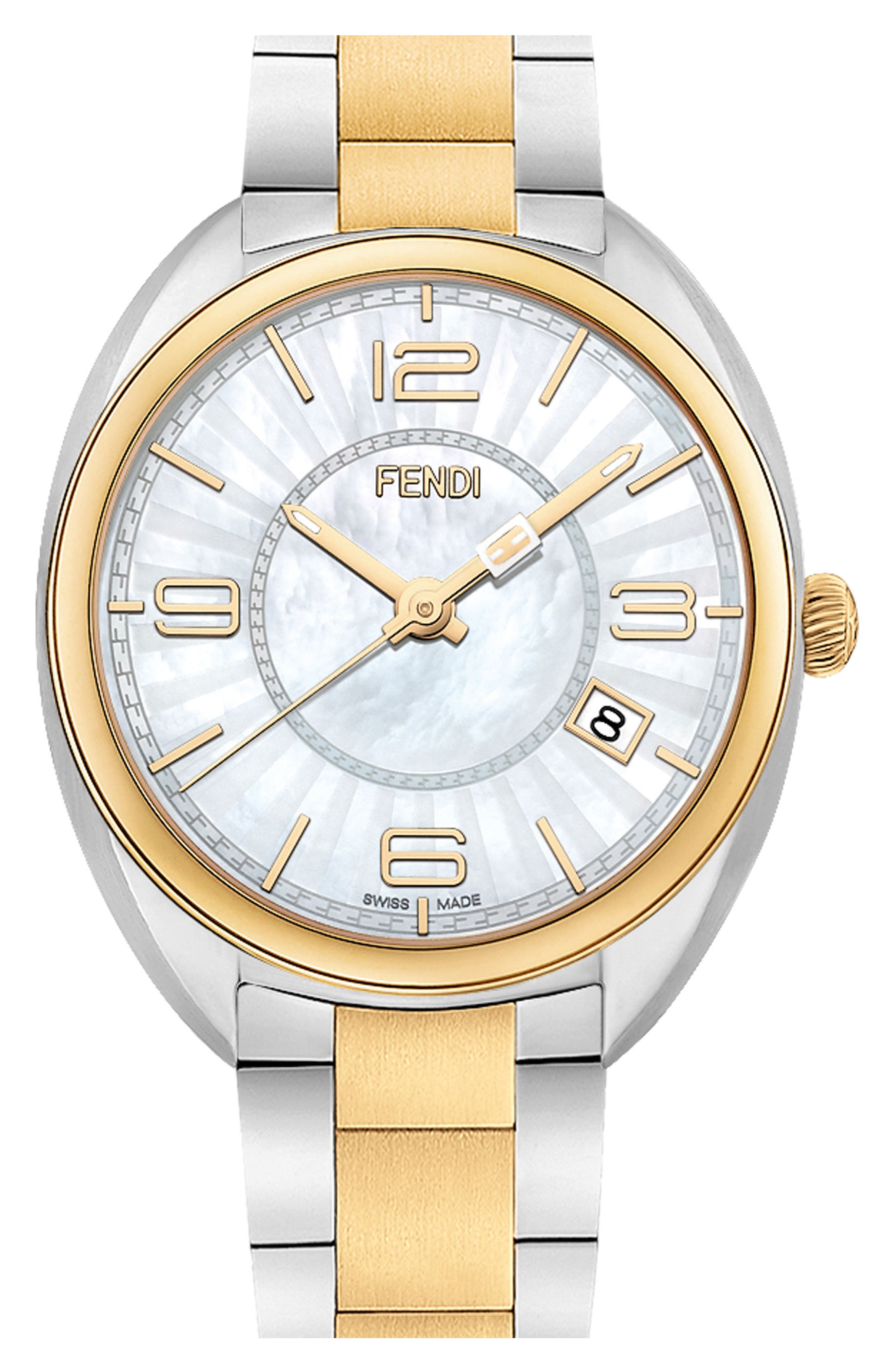 Momento Mother of Pearl Bracelet Watch, 34mm,                         Main,                         color, Two Tone/ Mother Of Pearl