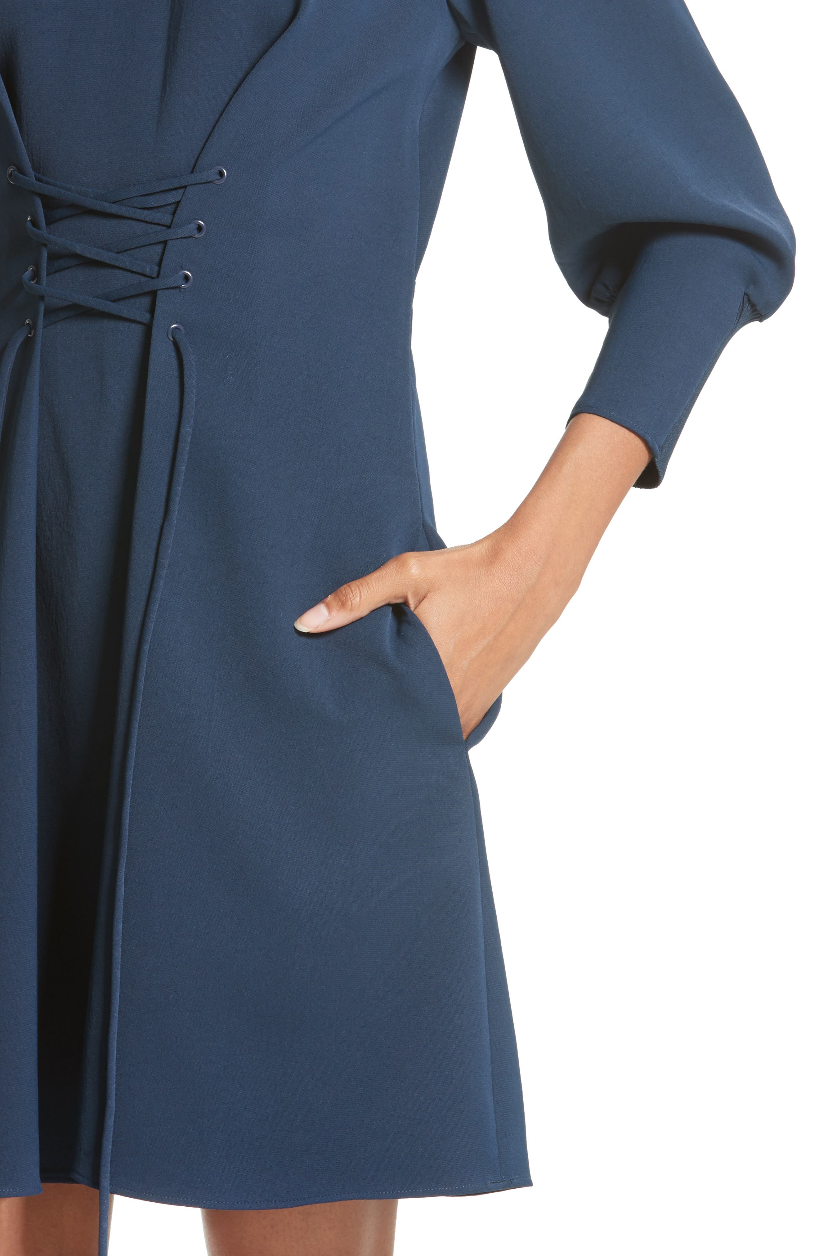 Lace-Up Draped Twill Dress,                             Alternate thumbnail 4, color,                             Navy