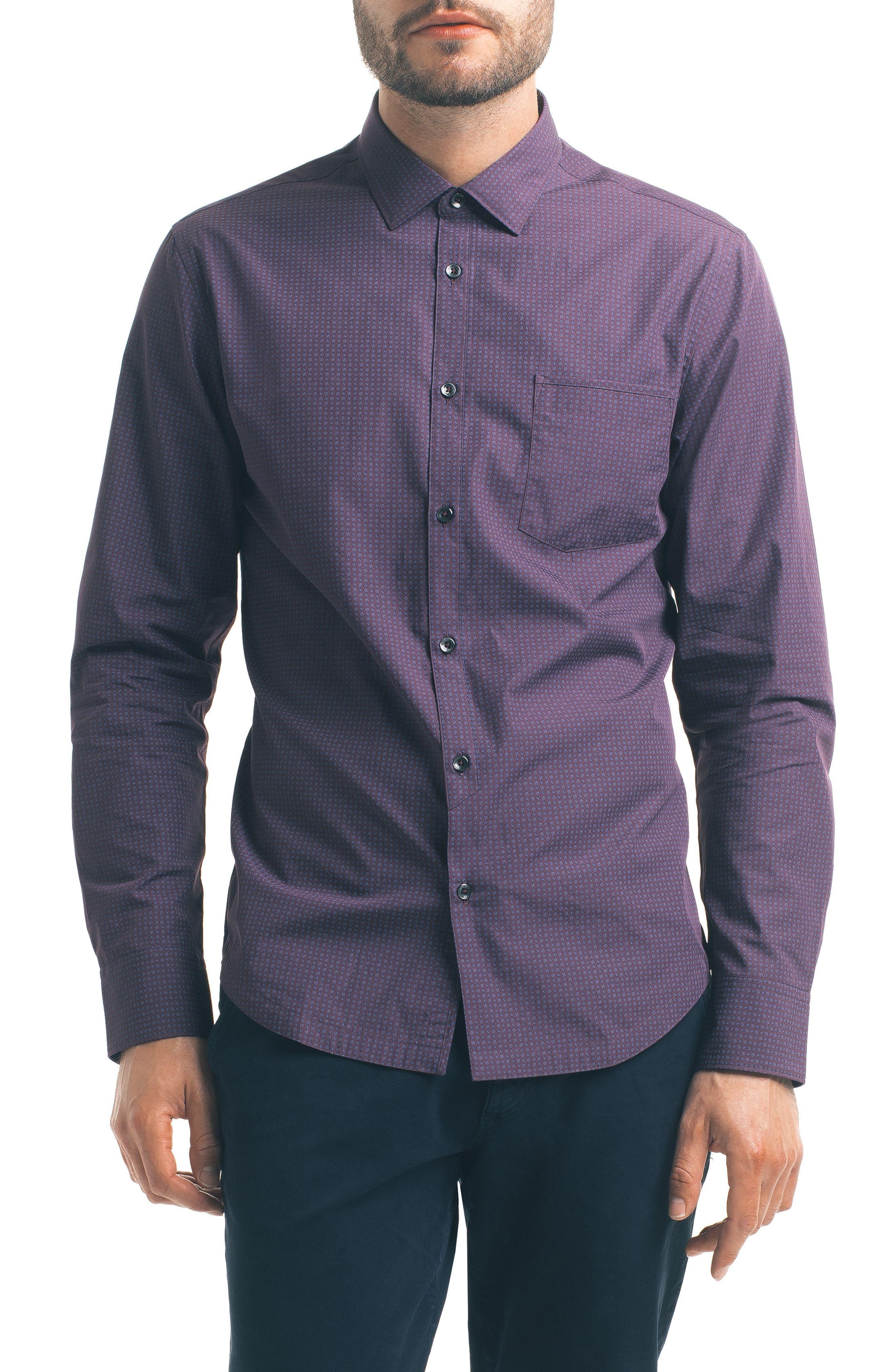 Good Man Brand Slim Fit Diamond Print Sport Shirt