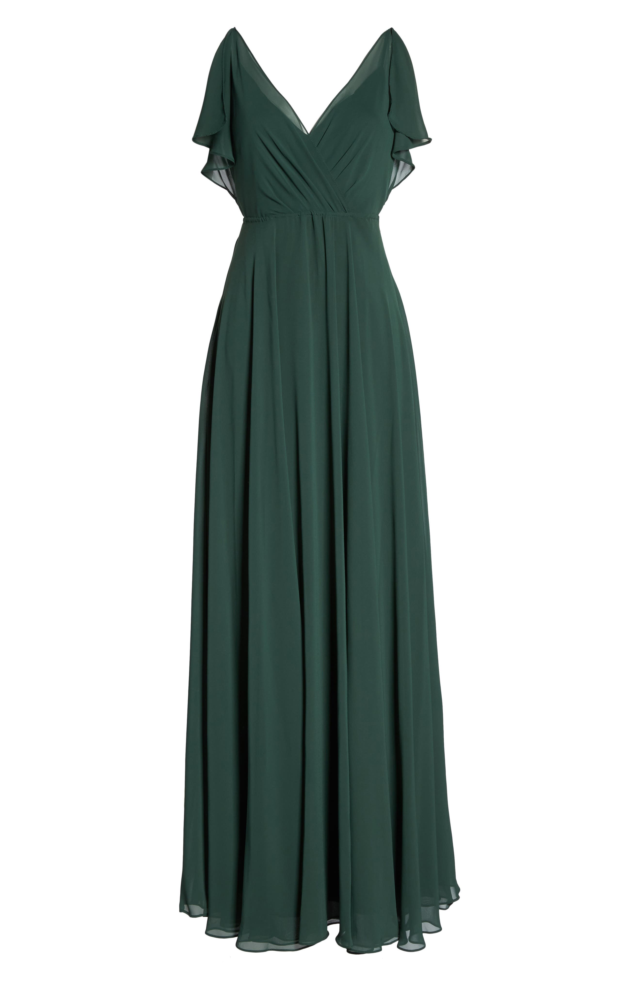 Cassie Flutter Sleeve Chiffon A-Line Gown,                         Main,                         color, Forrest