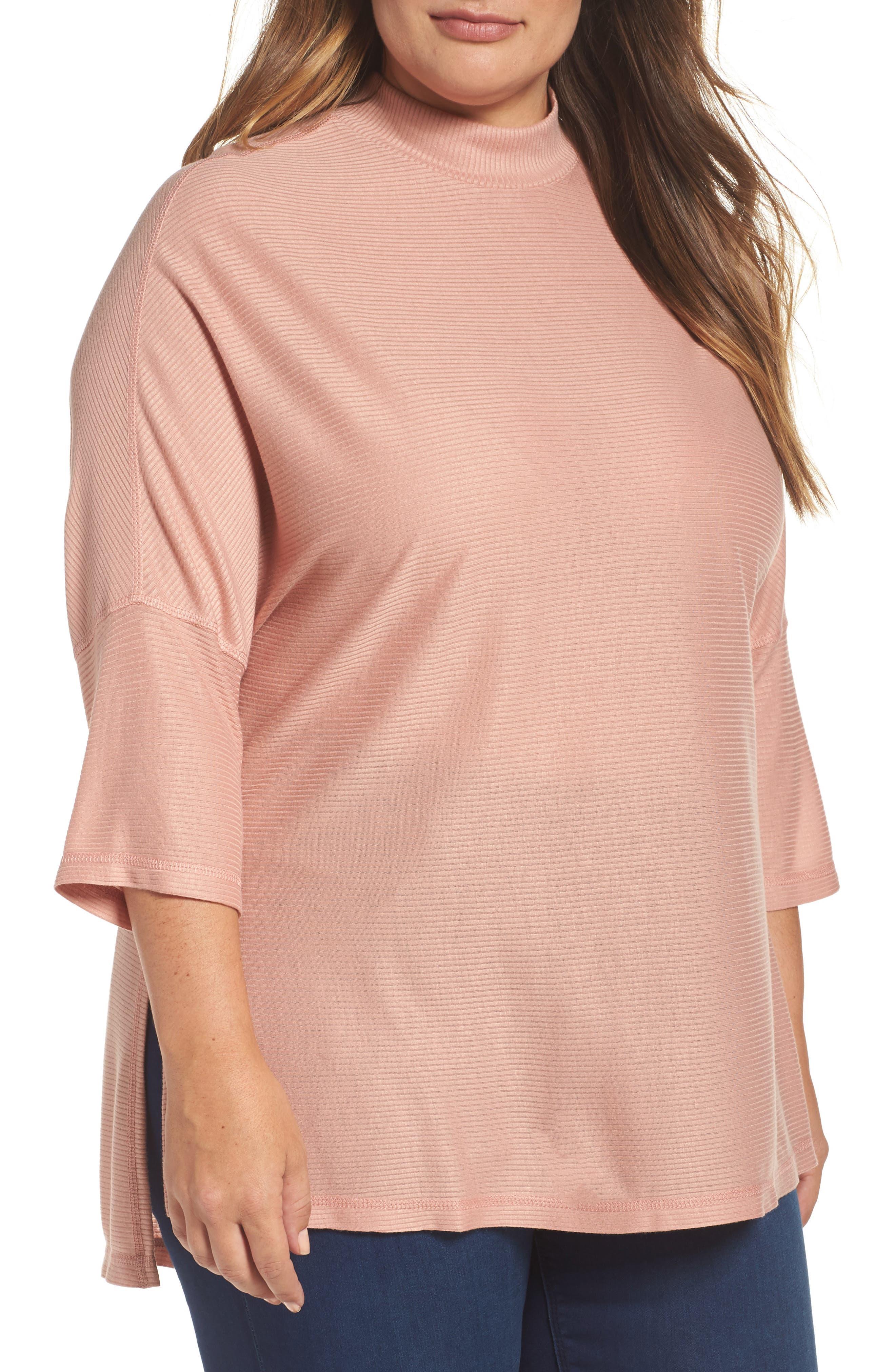 Melissa McCarthy Seven7 Mock Neck Rib Knit Top (Plus Size)