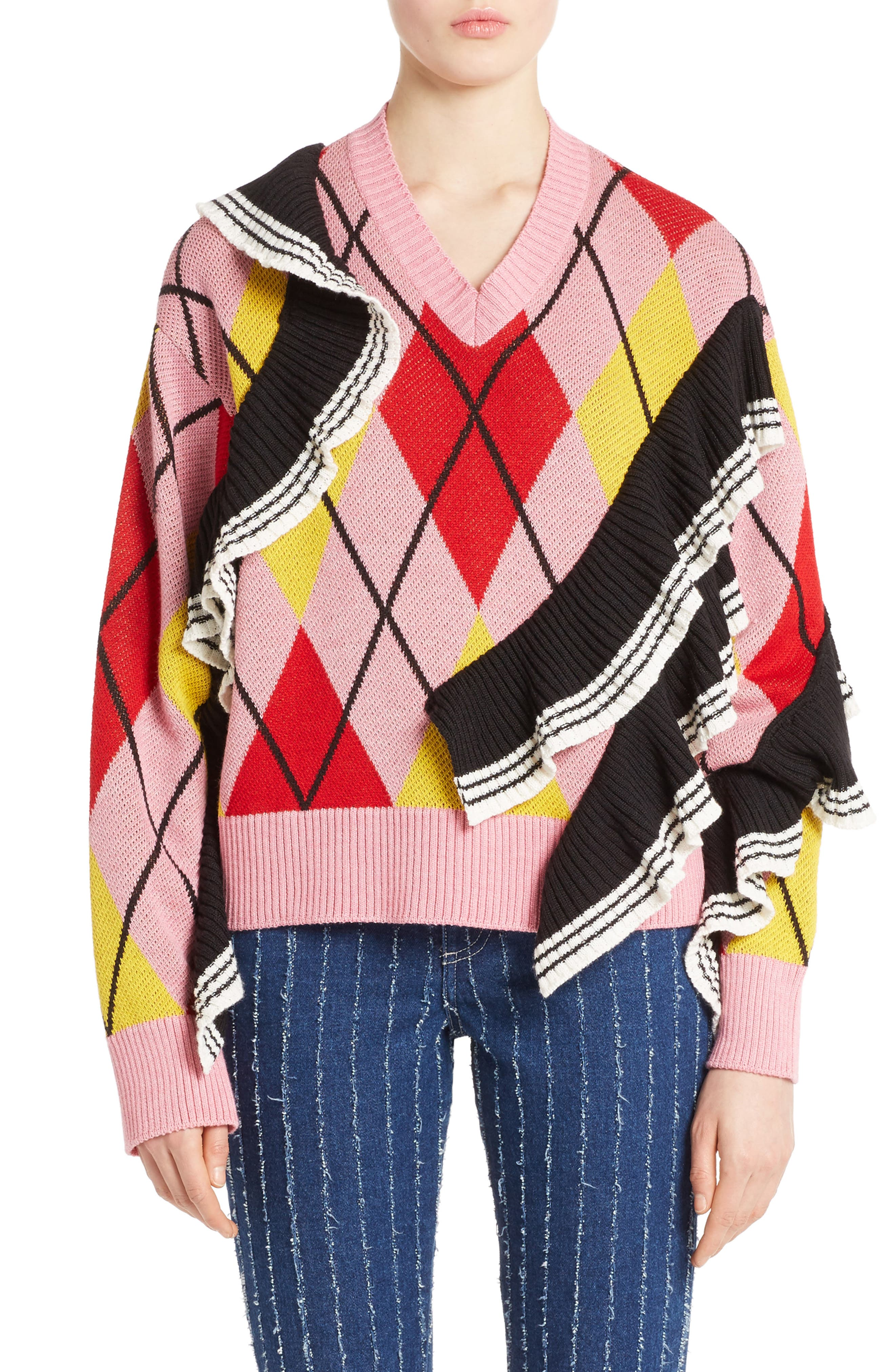 Argyle Ruffle Sweater,                         Main,                         color, Pink/ Red/ Yellow