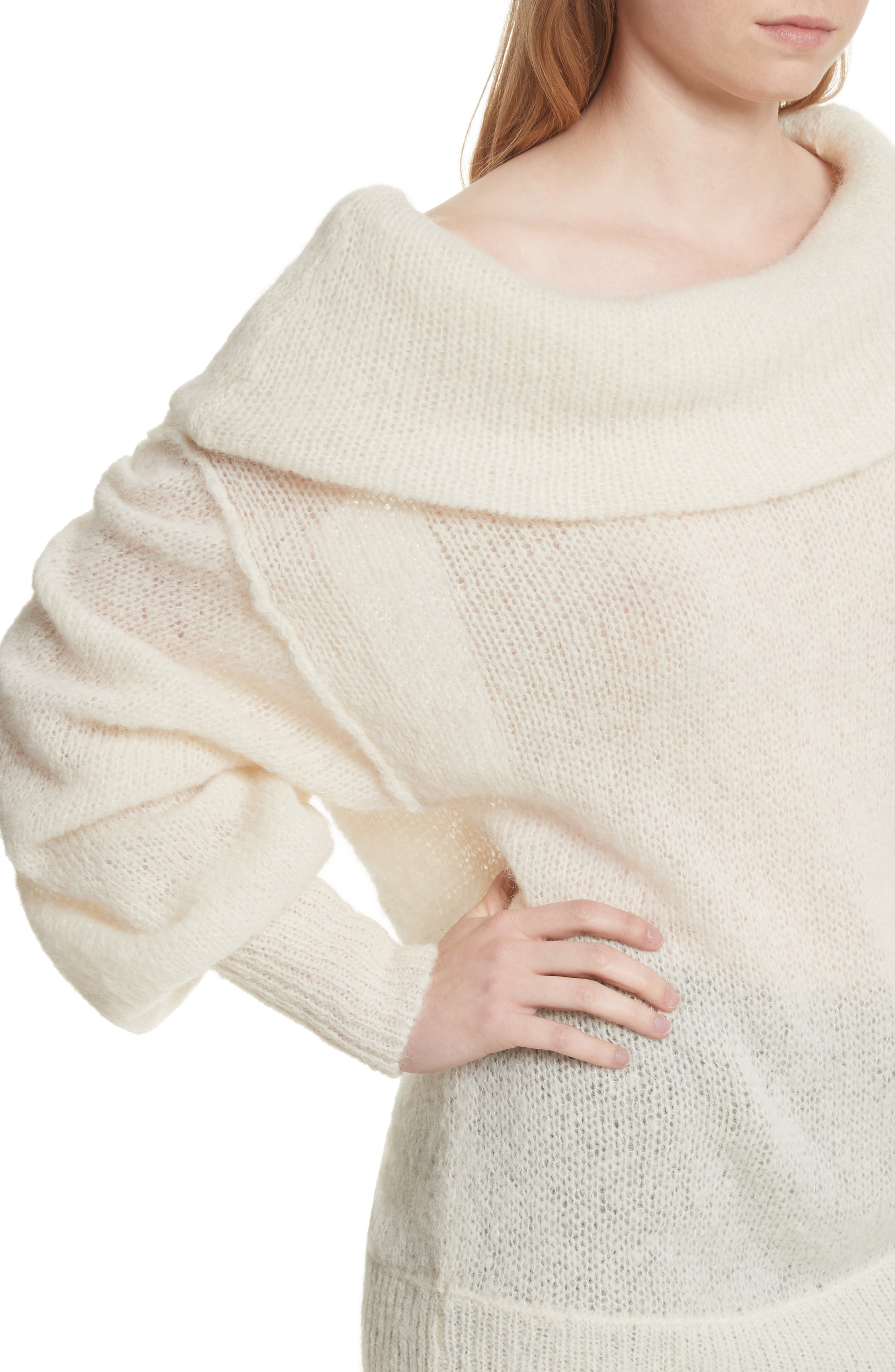 Ophelia Off the Shoulder Sweater,                             Alternate thumbnail 5, color,                             Ivory