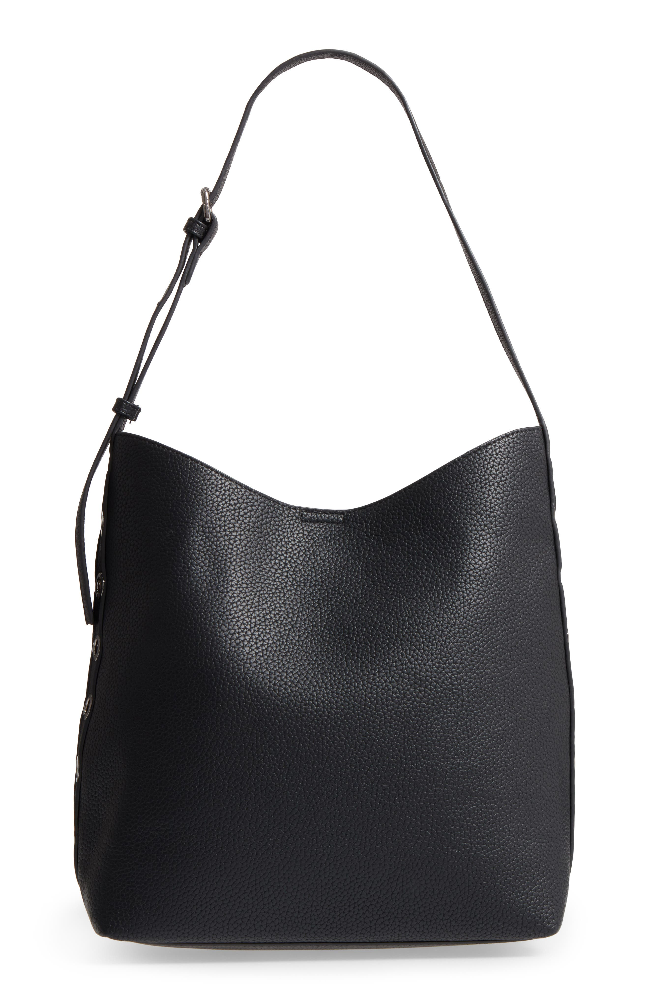 Samara Faux Leather Shoulder Bag,                             Main thumbnail 1, color,                             Black