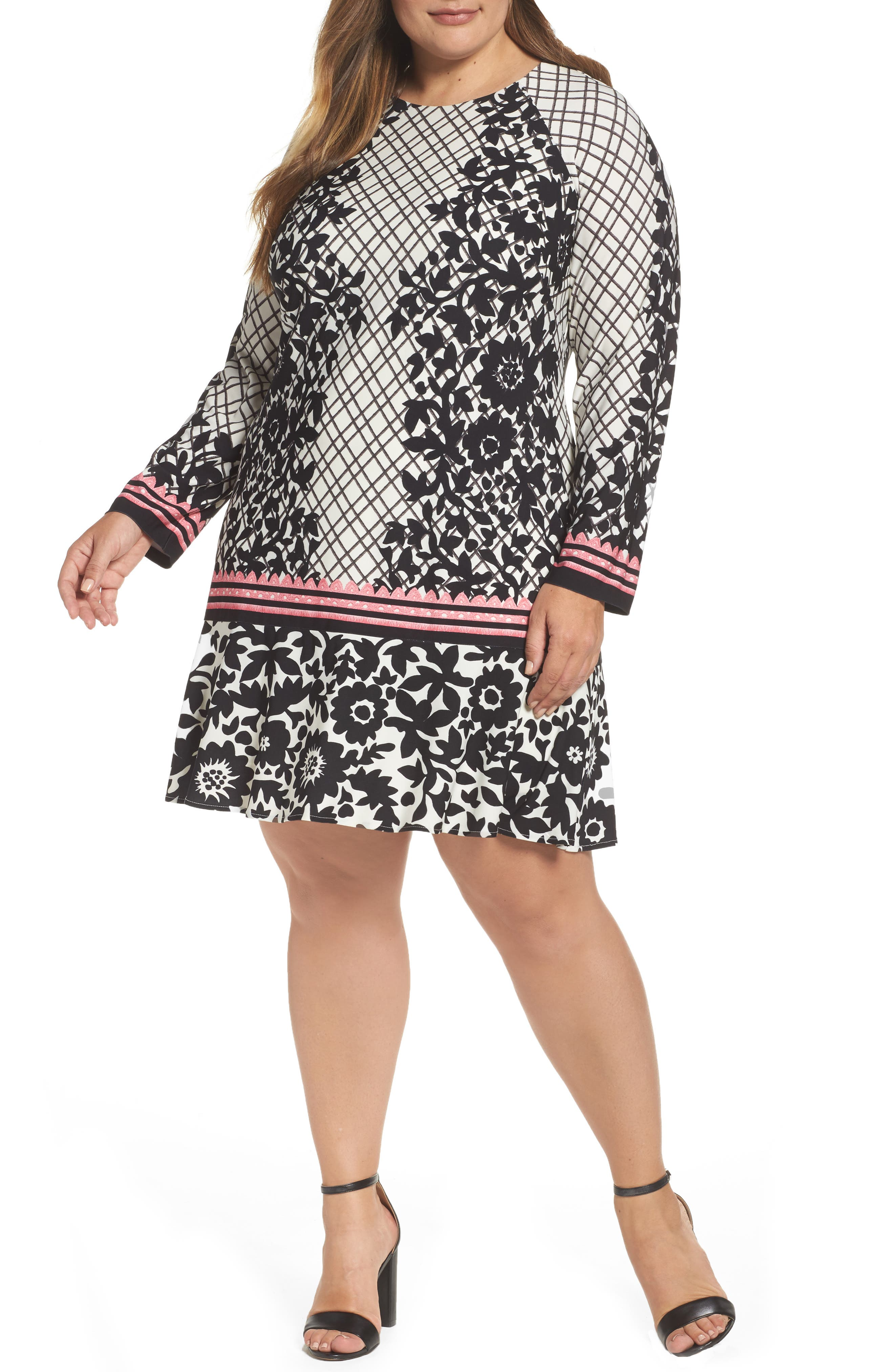 Lace Trim Shift Dress,                         Main,                         color, Black/ Pink