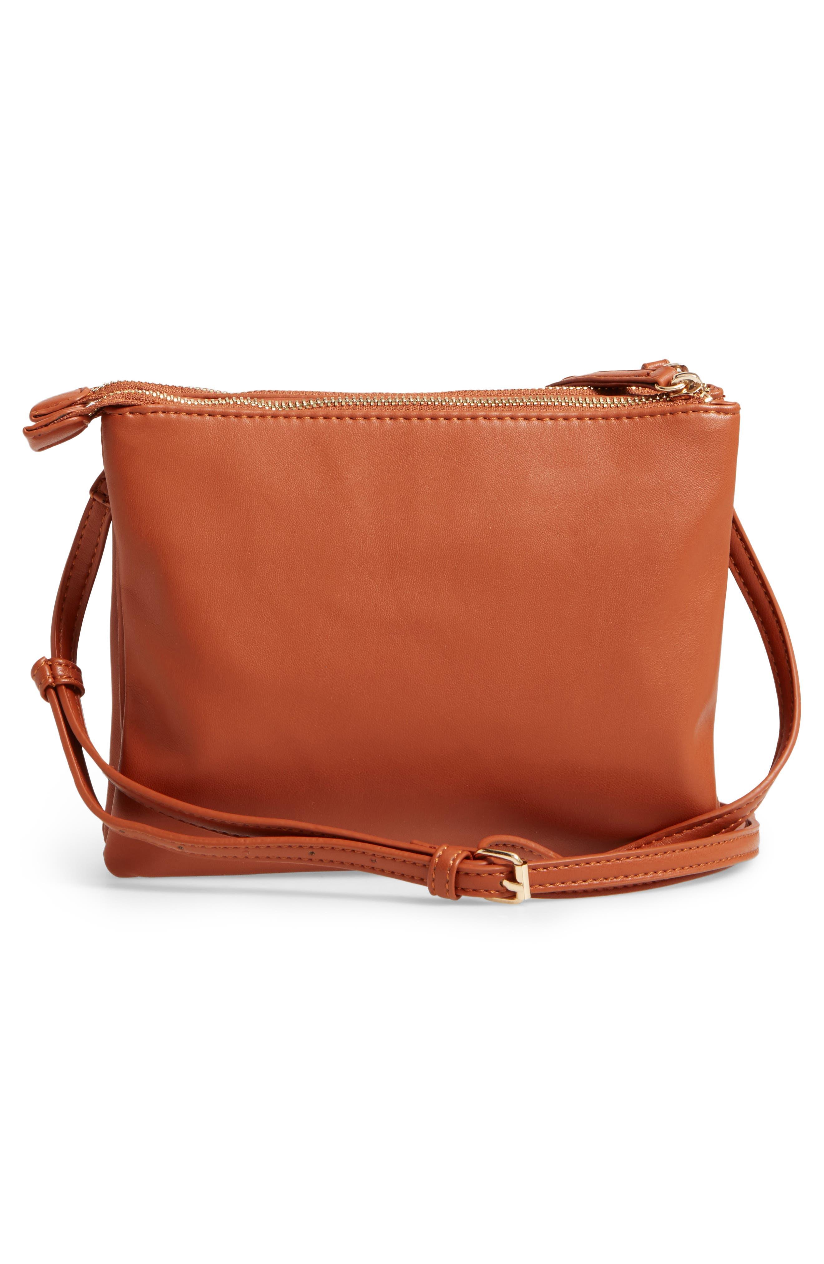 Madden Faux Leather Pouch Crossbody Bag,                             Alternate thumbnail 2, color,                             Cognac