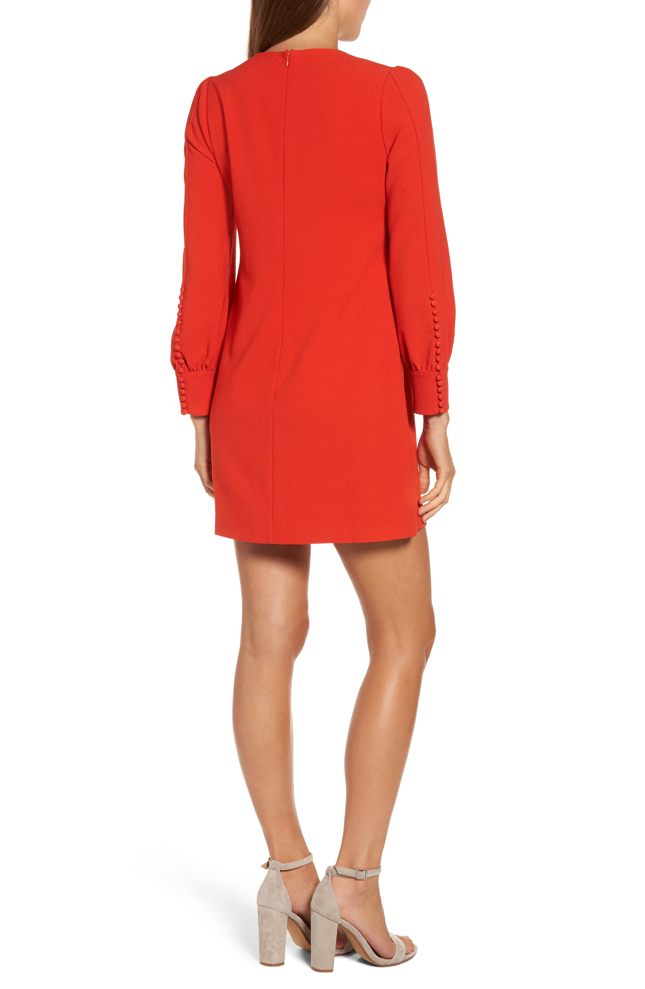 Button Detail Shift Dress,                             Alternate thumbnail 2, color,                             Red Chili