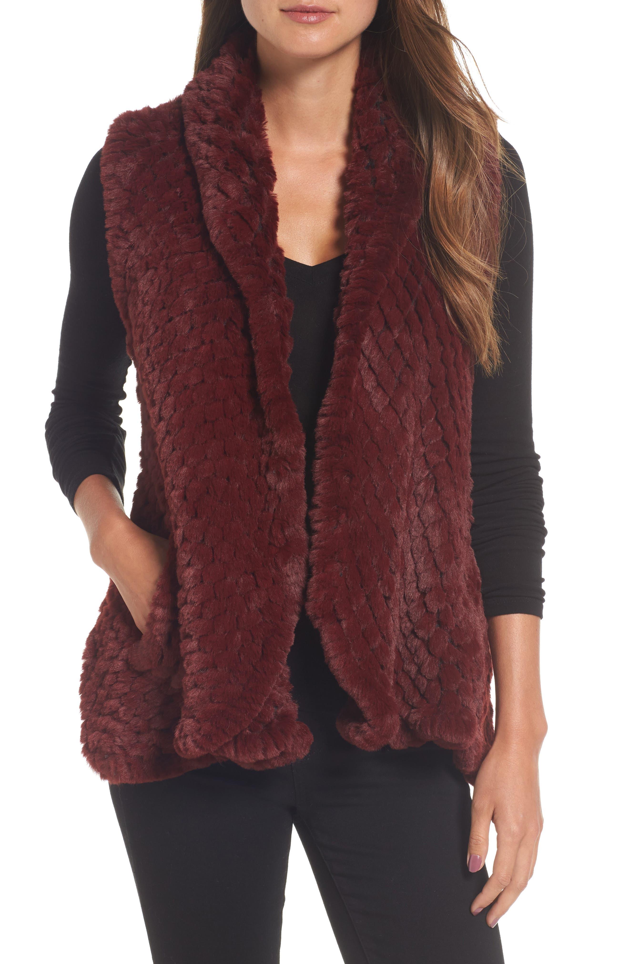 Faux Fur Vest,                         Main,                         color, Wine